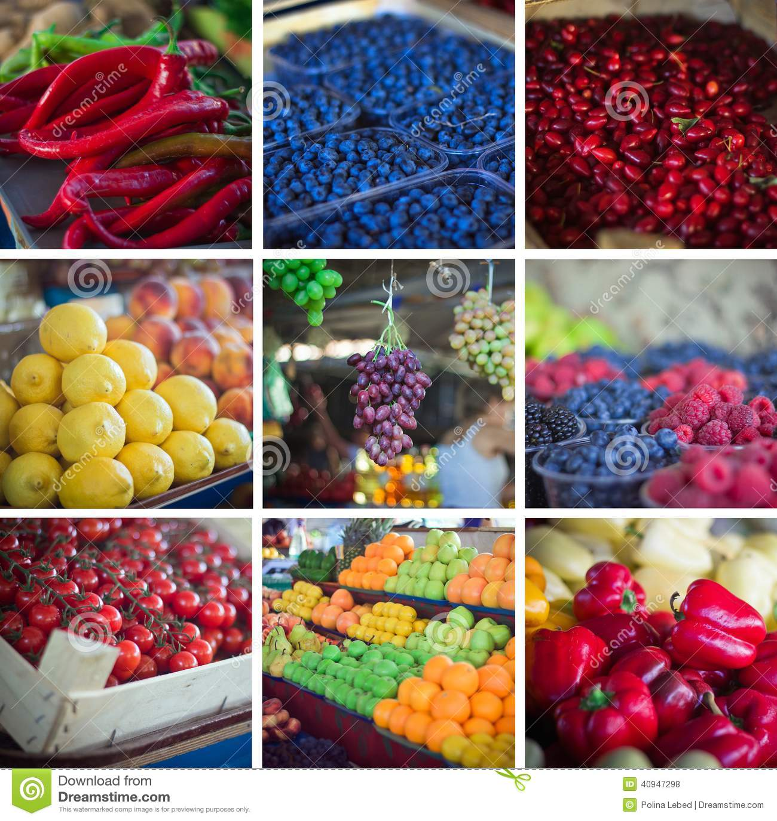 夏天水果和蔬菜拼贴画