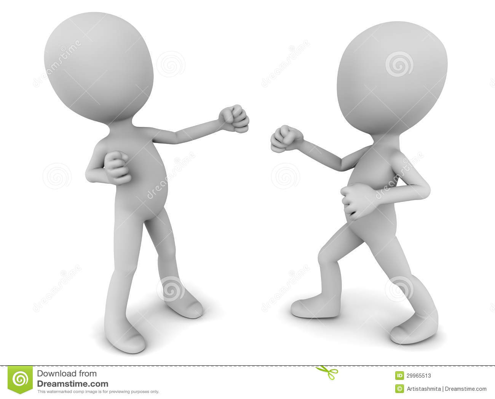 陷入争斗,拳头对拳头,尝试它的二个3d人反对白色背景.
