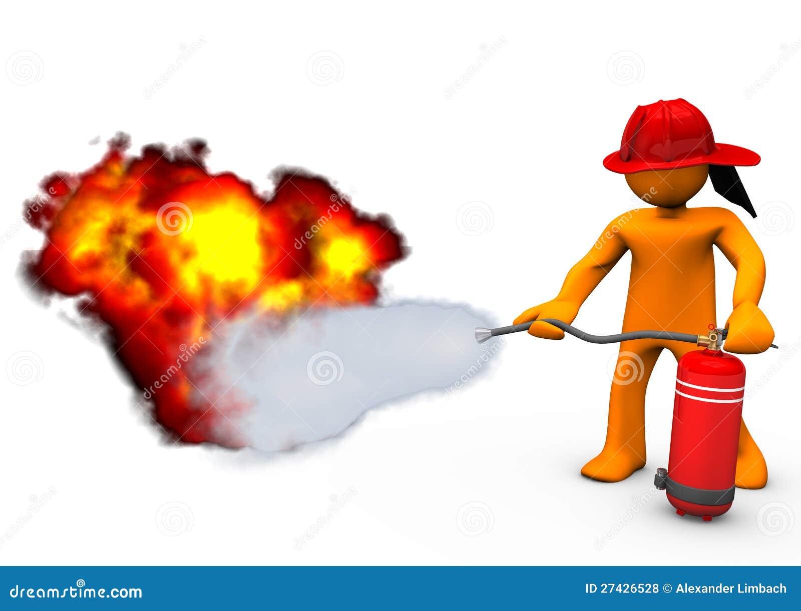 消防员灭火器火 免版税库存照片