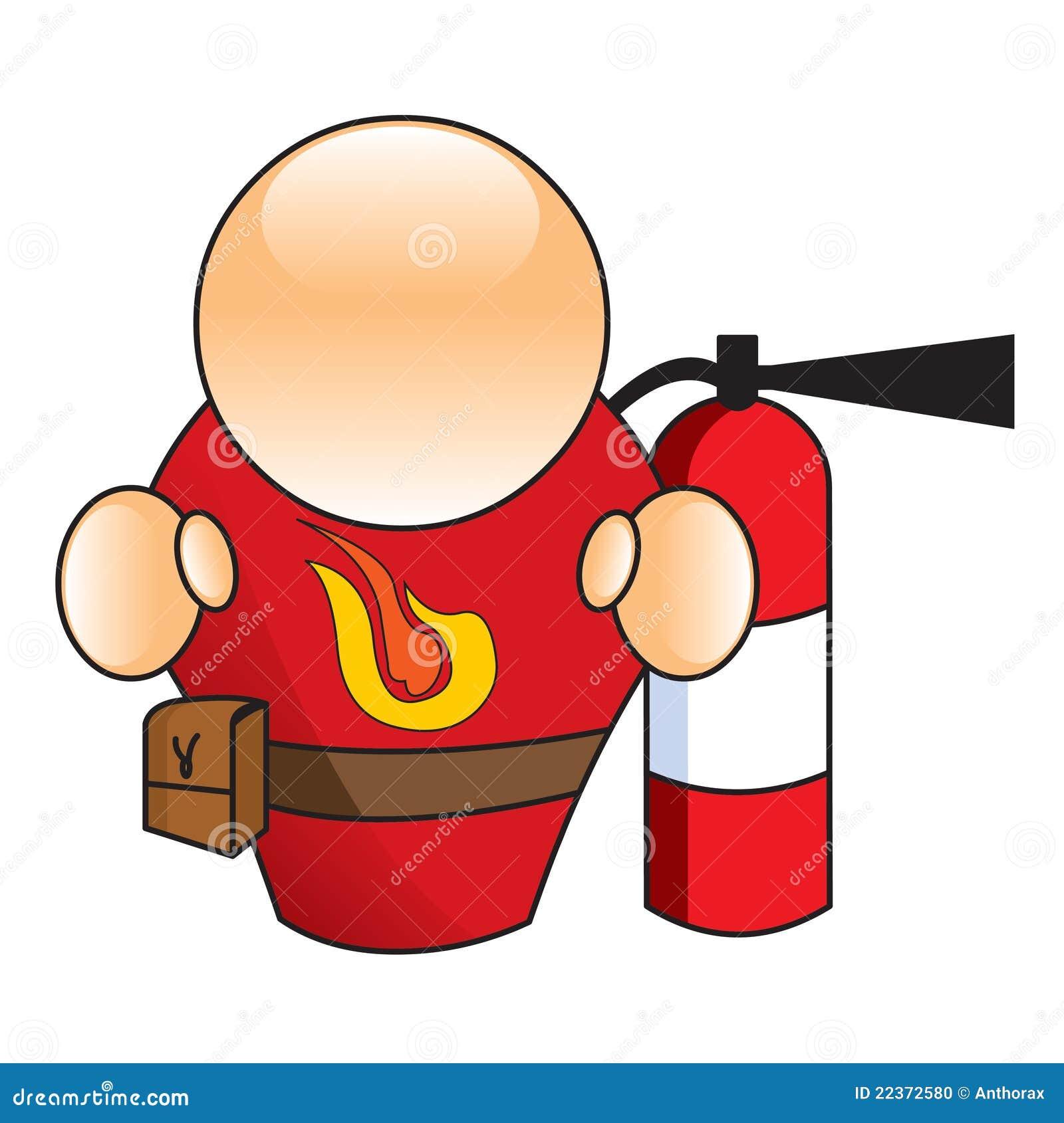 消防员拿着灭火器喷向火的图画