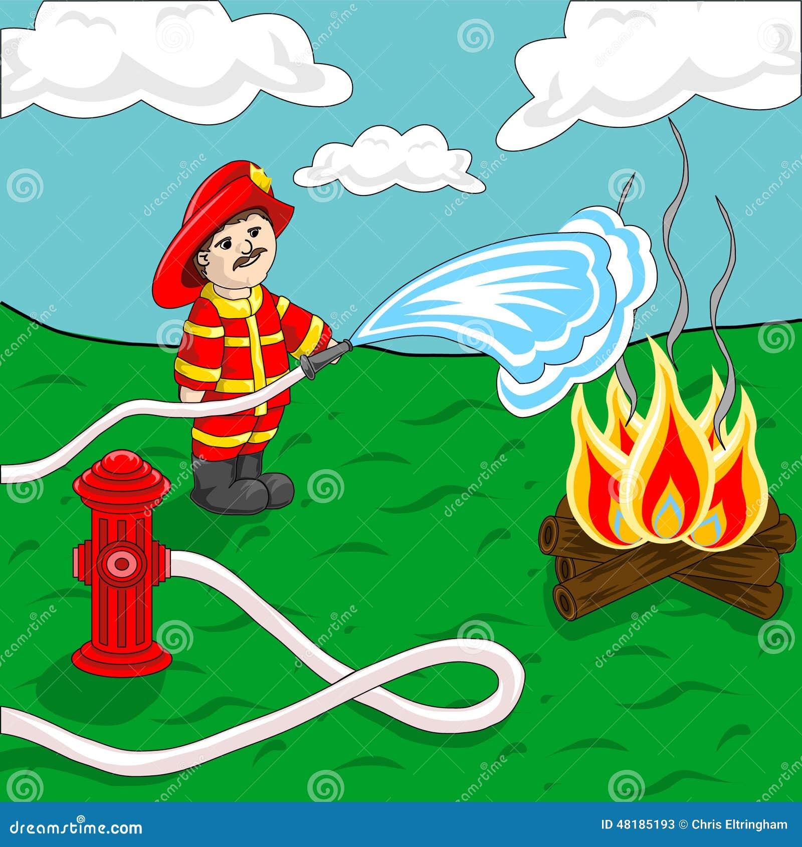 使用灭火水龙带和消防栓喷洒的水在营火的消防员