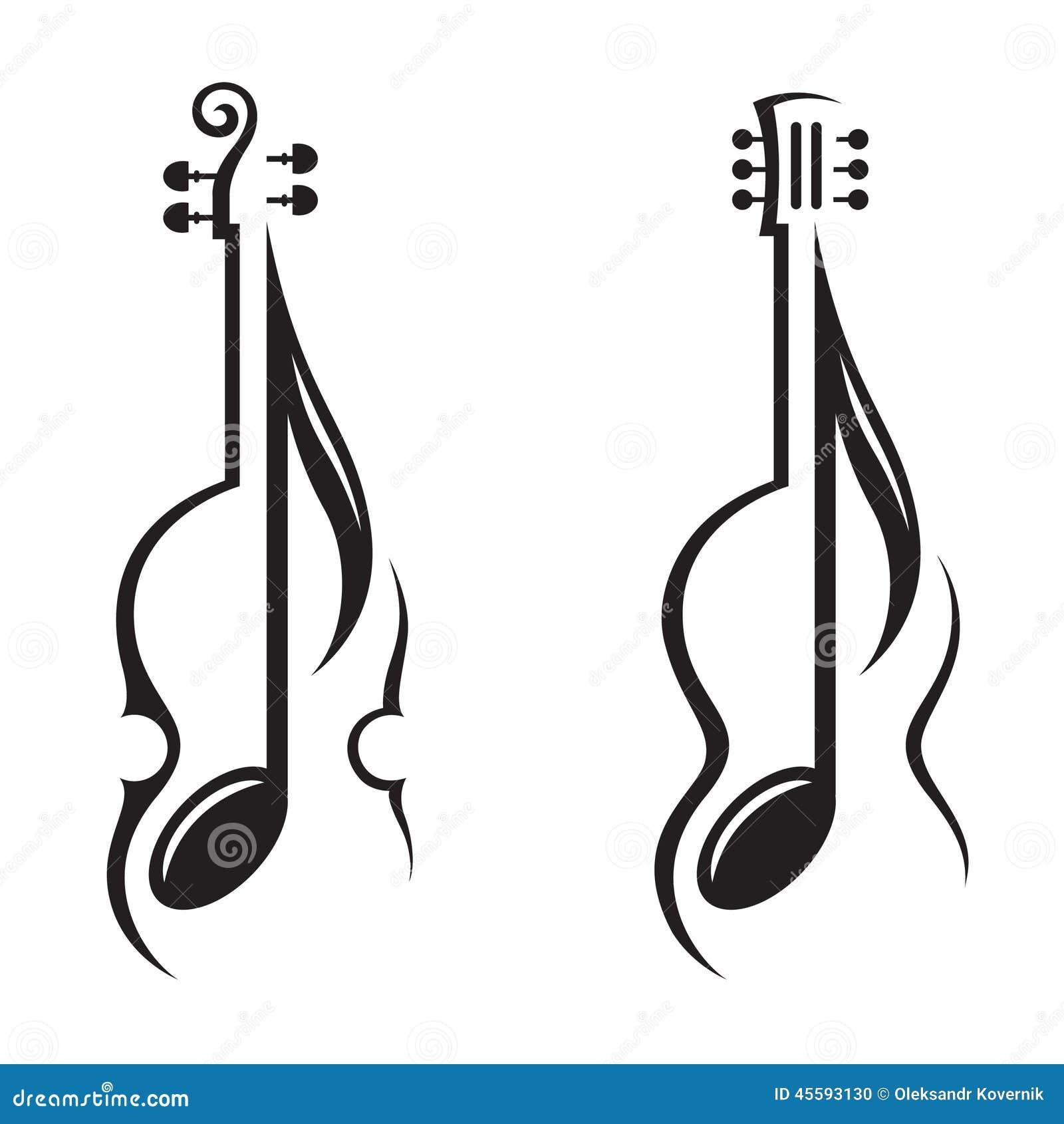 小提琴,吉他和笔记图片