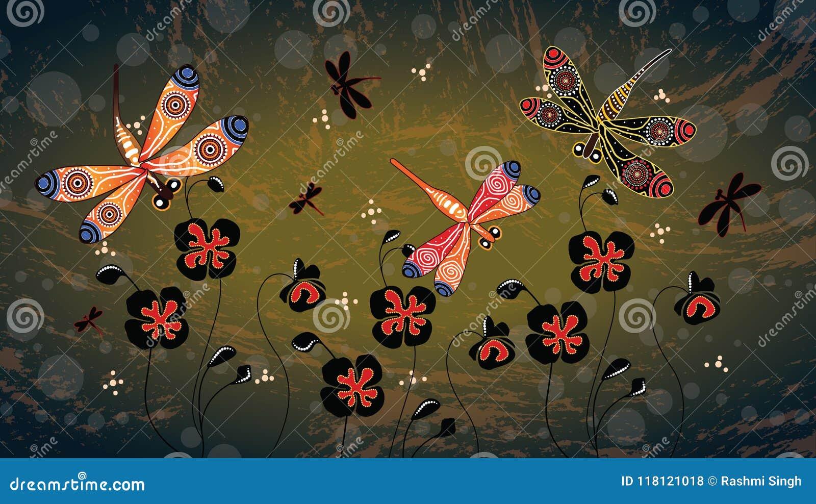 Аборигенная картина вектора искусства с dragonfly и маком цветет