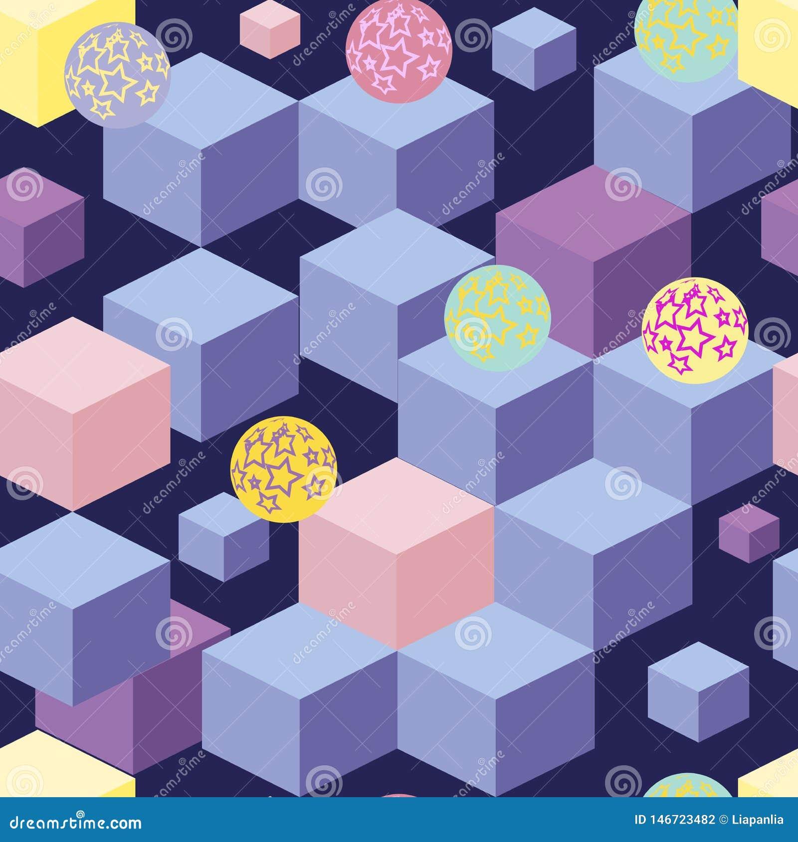 Абстрактная безшовная картина с голубыми кубами