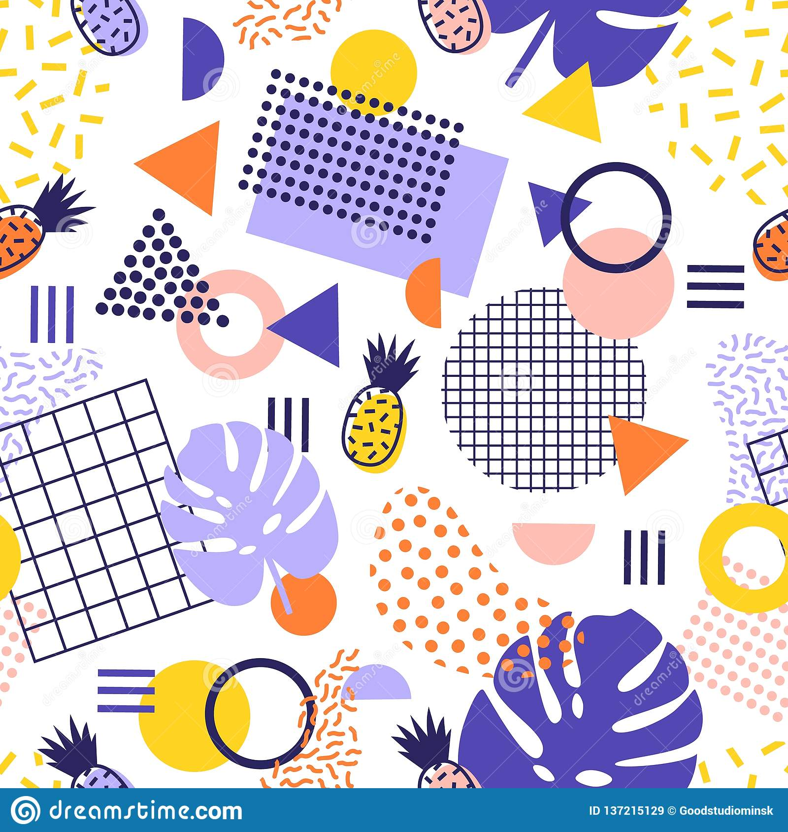 Абстрактная безшовная картина с линиями, геометрическими формами, тропическими плодами ананаса и экзотическими листьями на белой