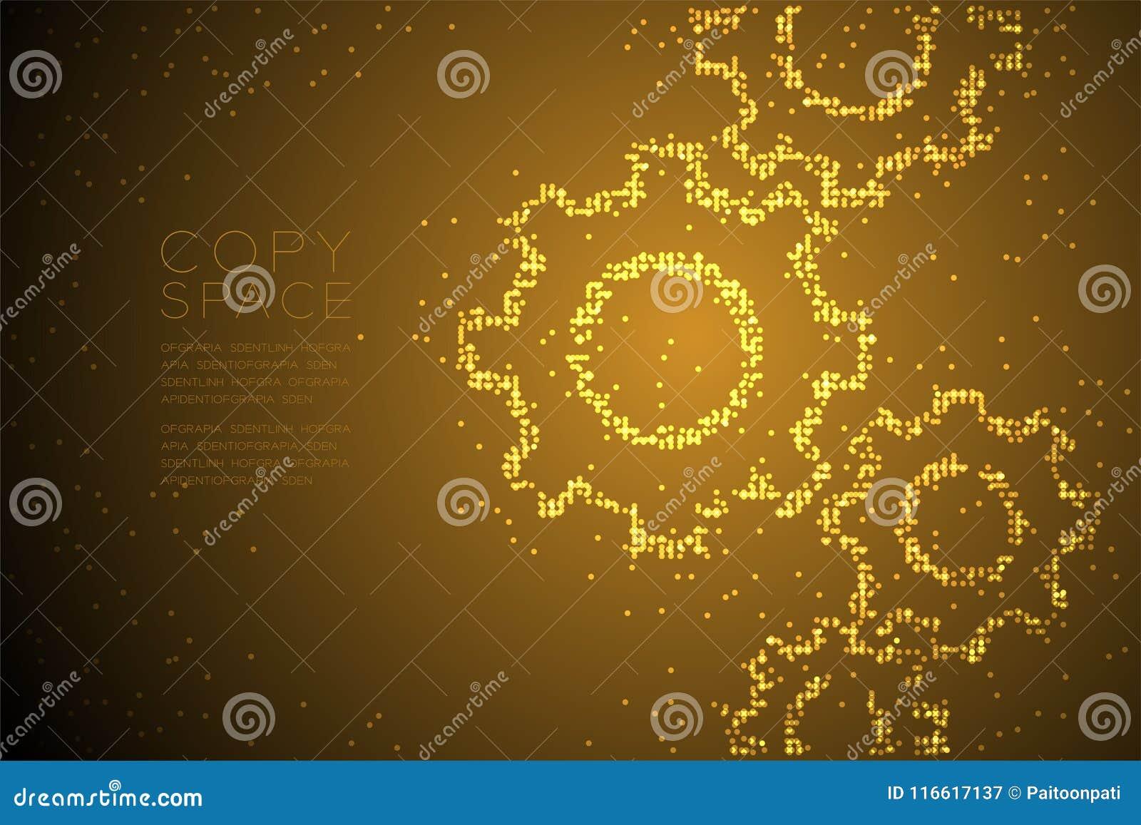 Абстрактная геометрическая форма шестерни инженерства точечного растра круга, иллюстрация цвета золота дизайна концепции системы