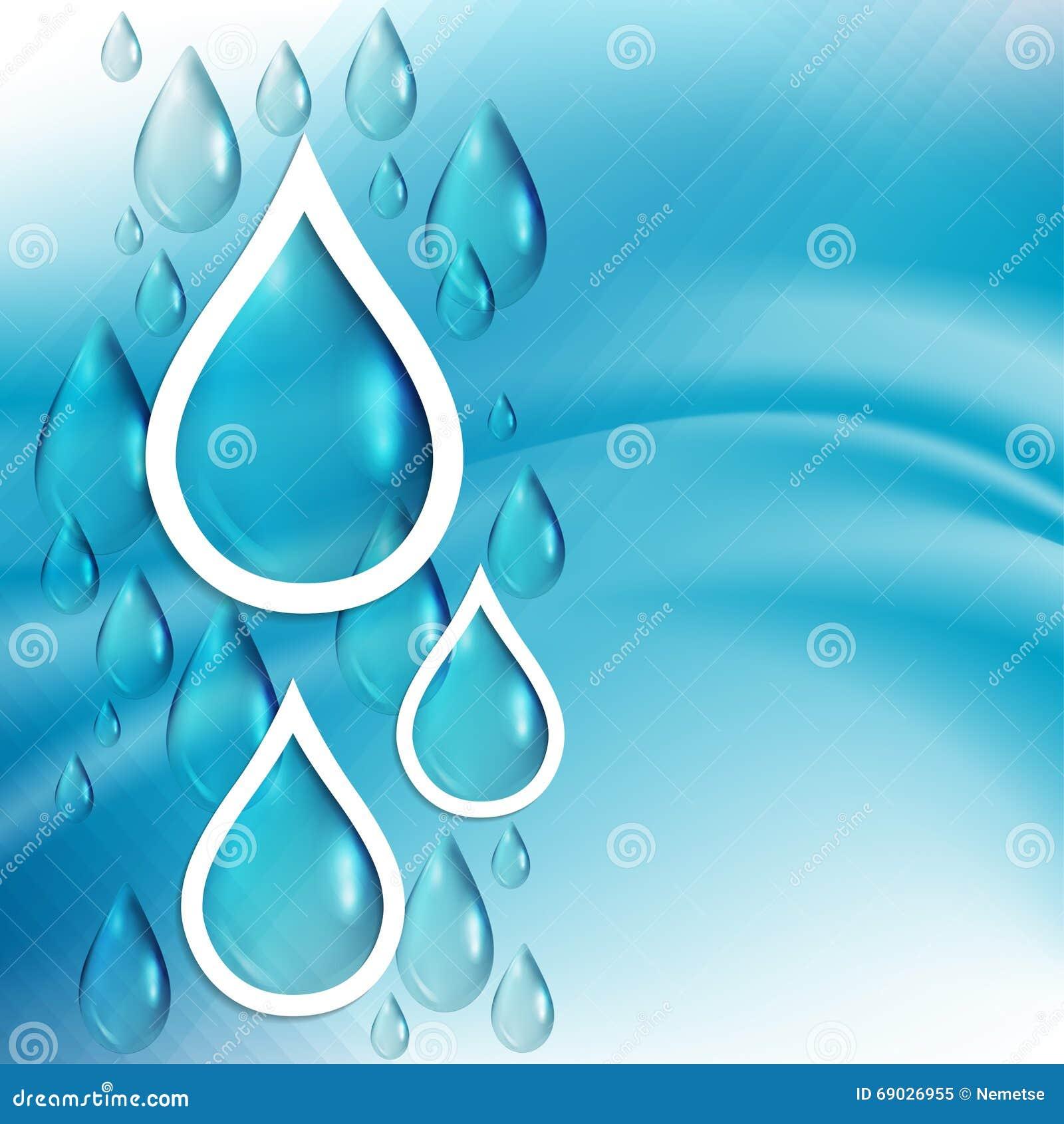 Абстрактная голубая предпосылка с водой падает, шаблон для дизайна