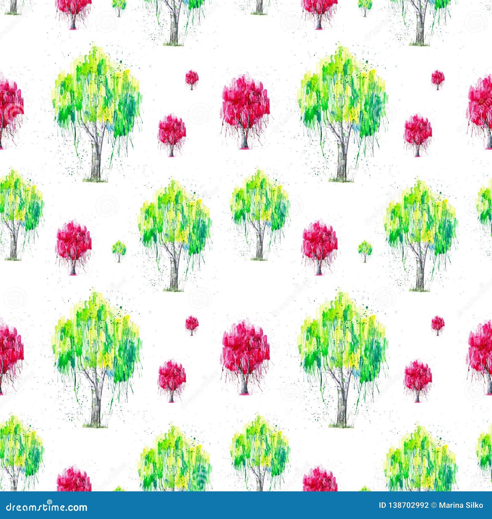 Абстрактная иллюстрация акварели зеленого и красного русского дерева березы с splashis изолированного на белой предпосылке Рука п