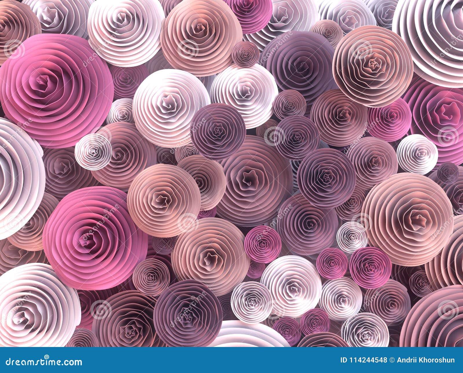 Абстрактная иллюстрация бумаг-произведенный, quilling цветет с различными тенями цветов весны перевод 3d