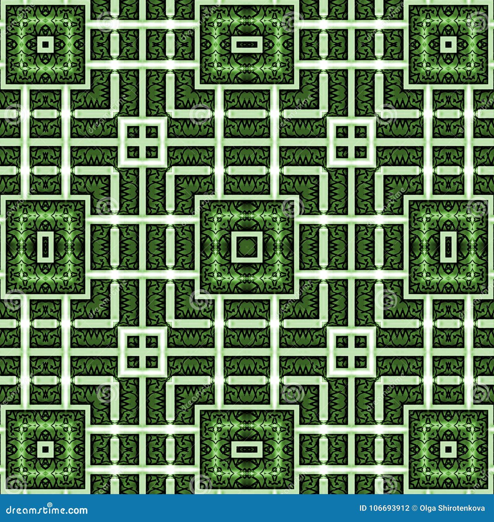Абстрактная картина орнамента, нашивки, квадрат Зеленые, белые цвета