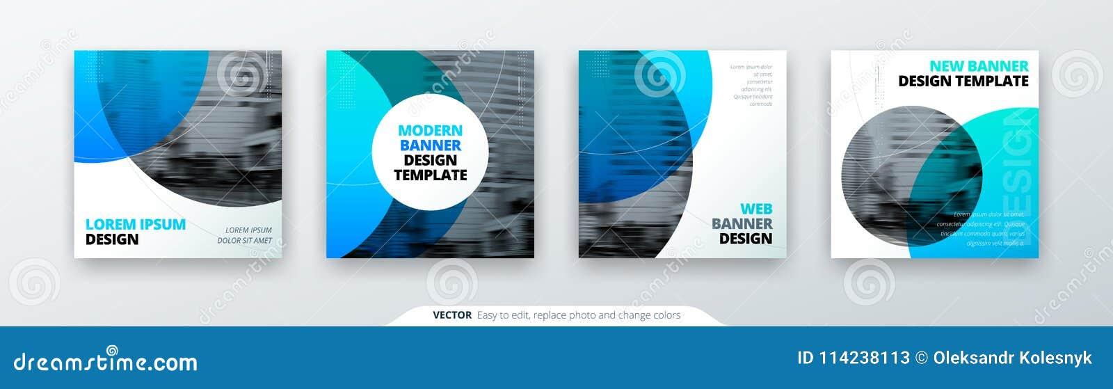 Абстрактная квадратная концепция предпосылки с кругом для дизайна рогульки брошюры знамени карточки в голубых цветах