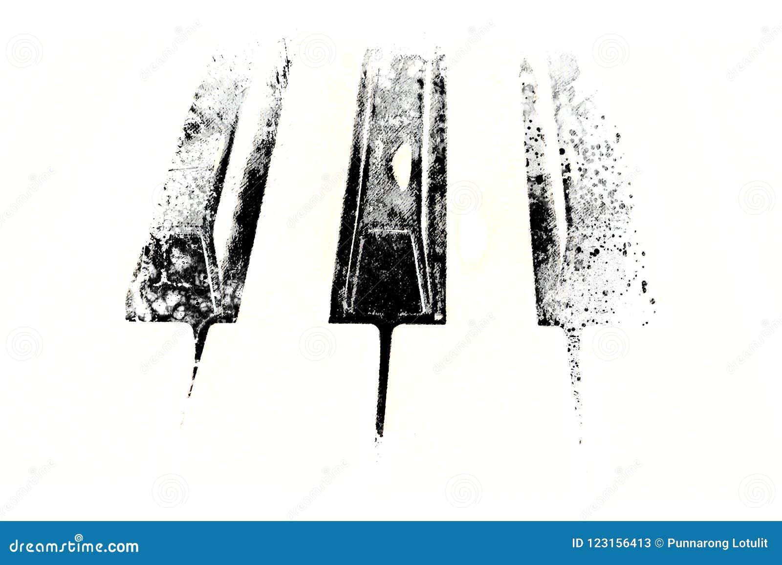 Абстрактная клавиатура картины акварели переднего плана рояля