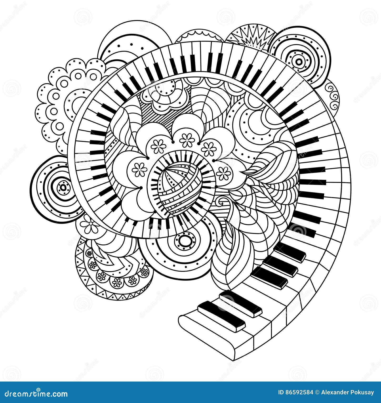 абстрактная книжка раскраска музыкального инструмента