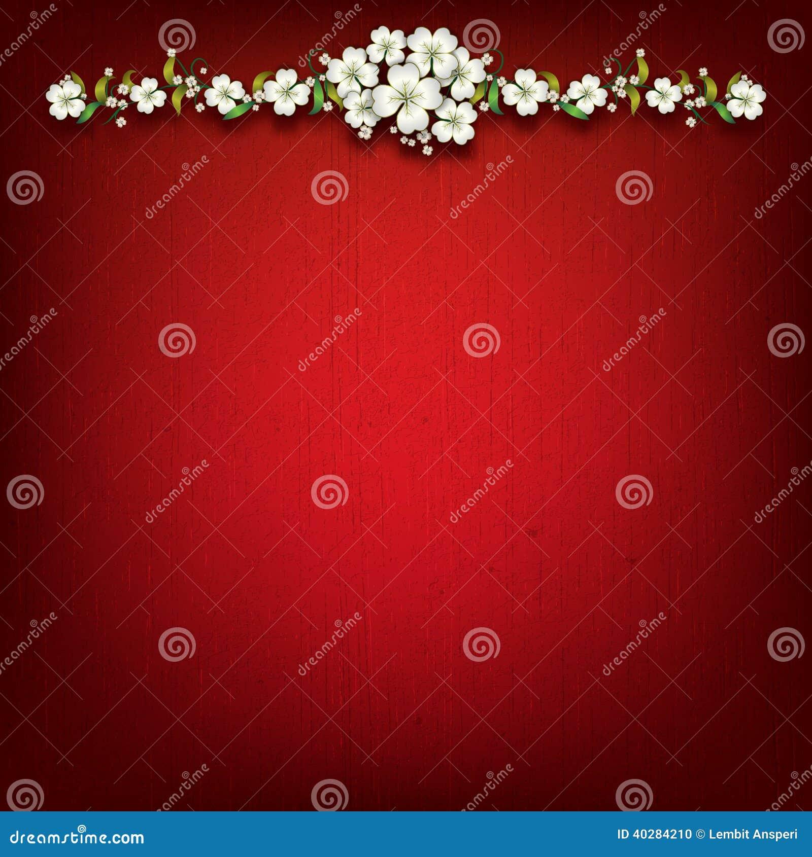 Абстрактная красная предпосылка grunge с цветками