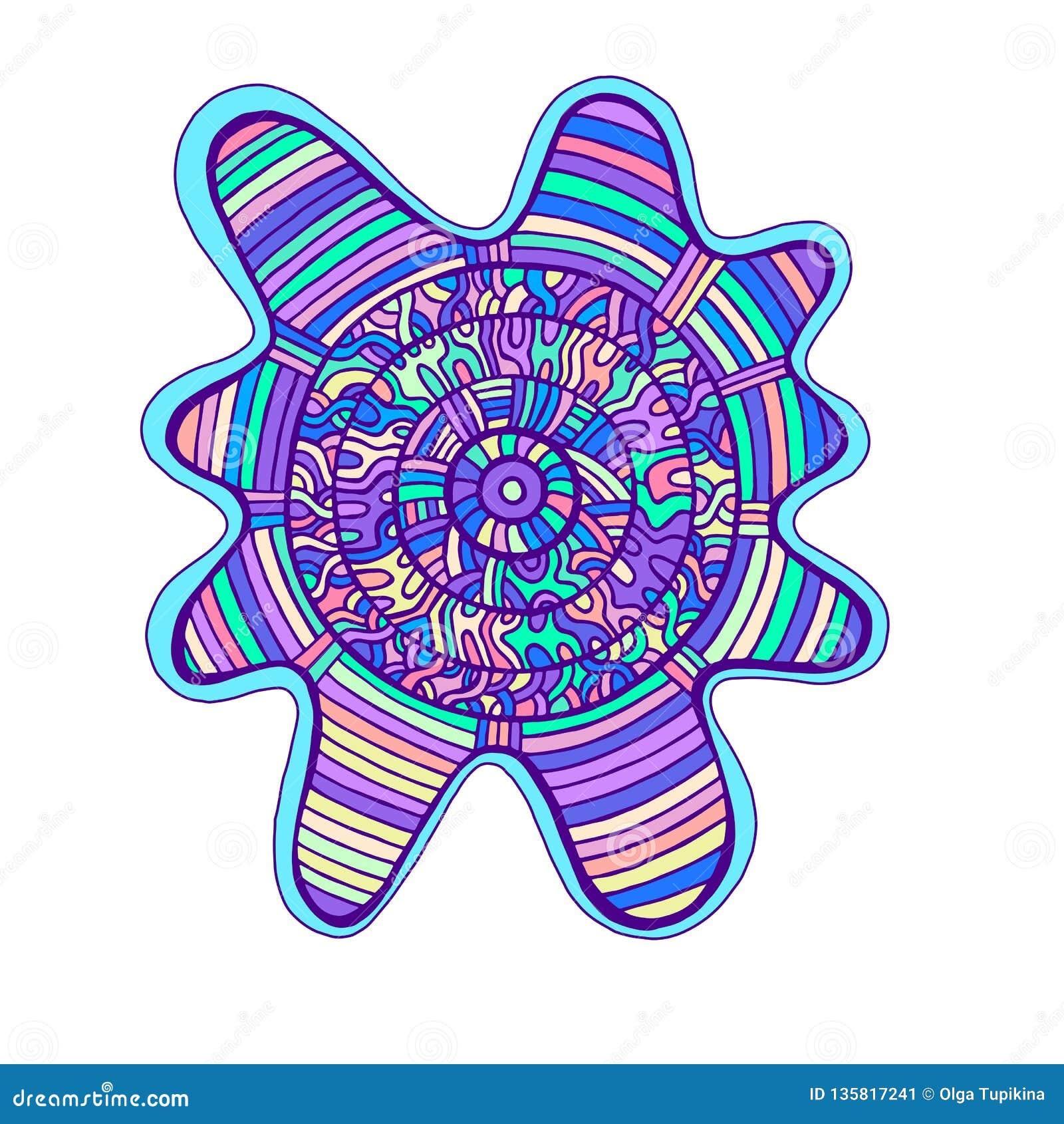 Абстрактная красочная мандала, с лабиринтом картины круга орнаментов