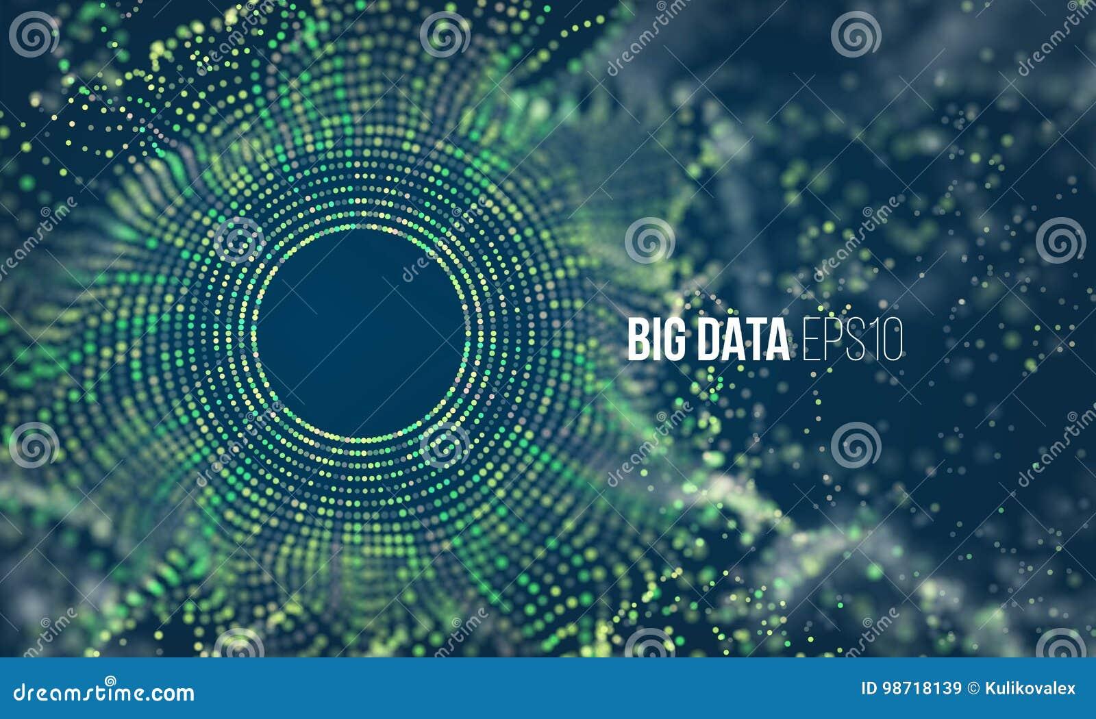 Абстрактная красочная подача решетки частицы с bokeh Пыль науки с предпосылкой зарева Футуристическое визуализирование bigdata