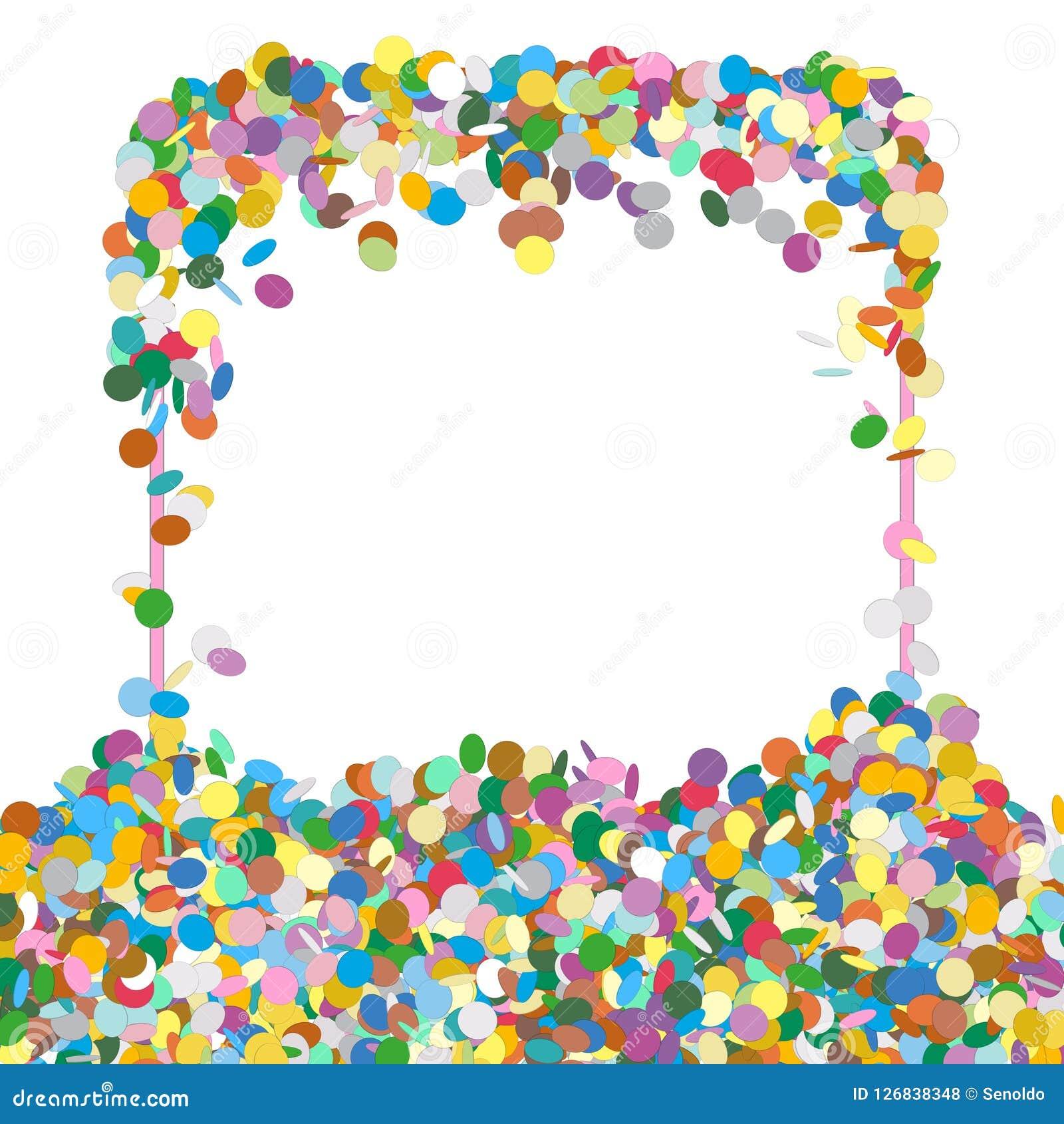 Абстрактная красочная Squarish форменная панель текста с фрагментами Confetti