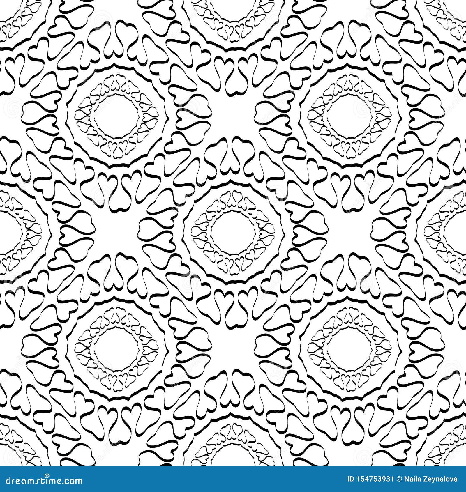 Абстрактная линия картина черно-белого вектора tracery искусства безшовная Предпосылка винтажного стиля орнаментальная красивая o
