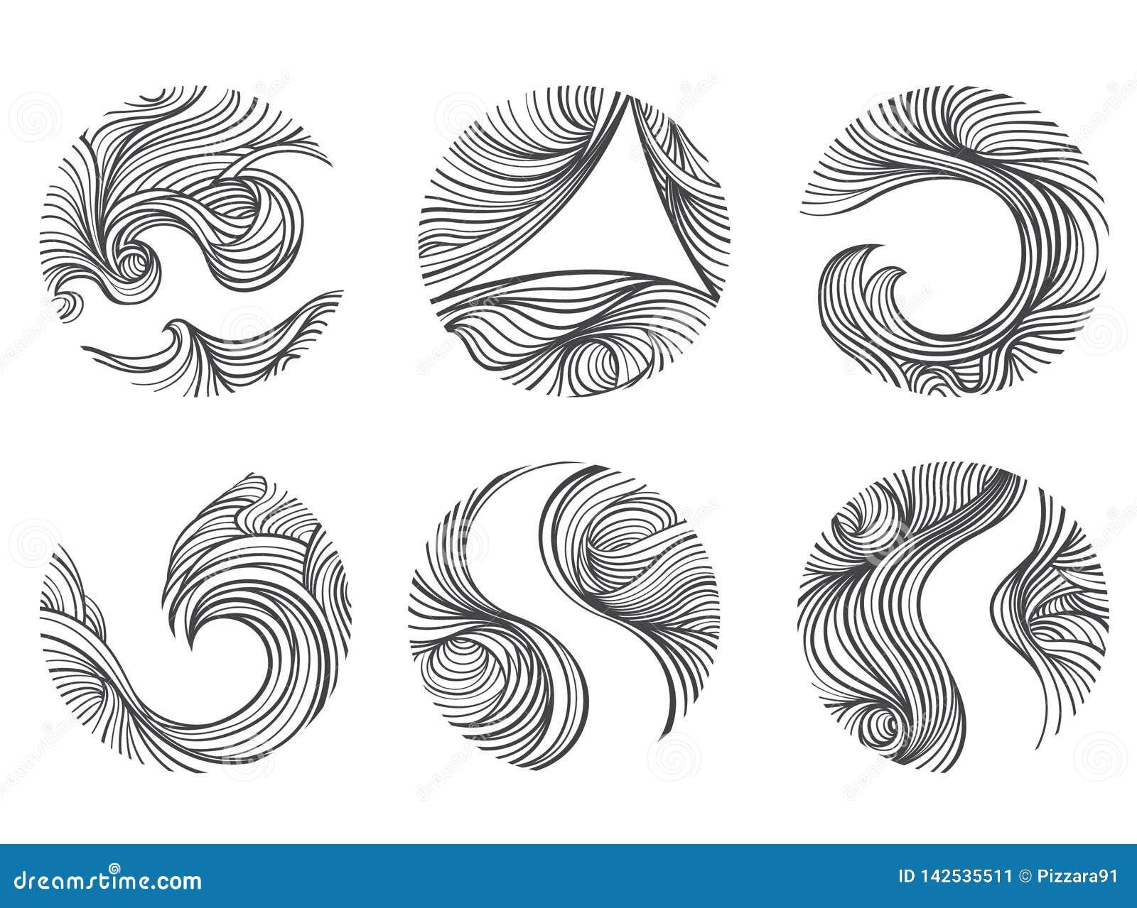 Абстрактная линия набор ветра значка логотипа округлой формы o