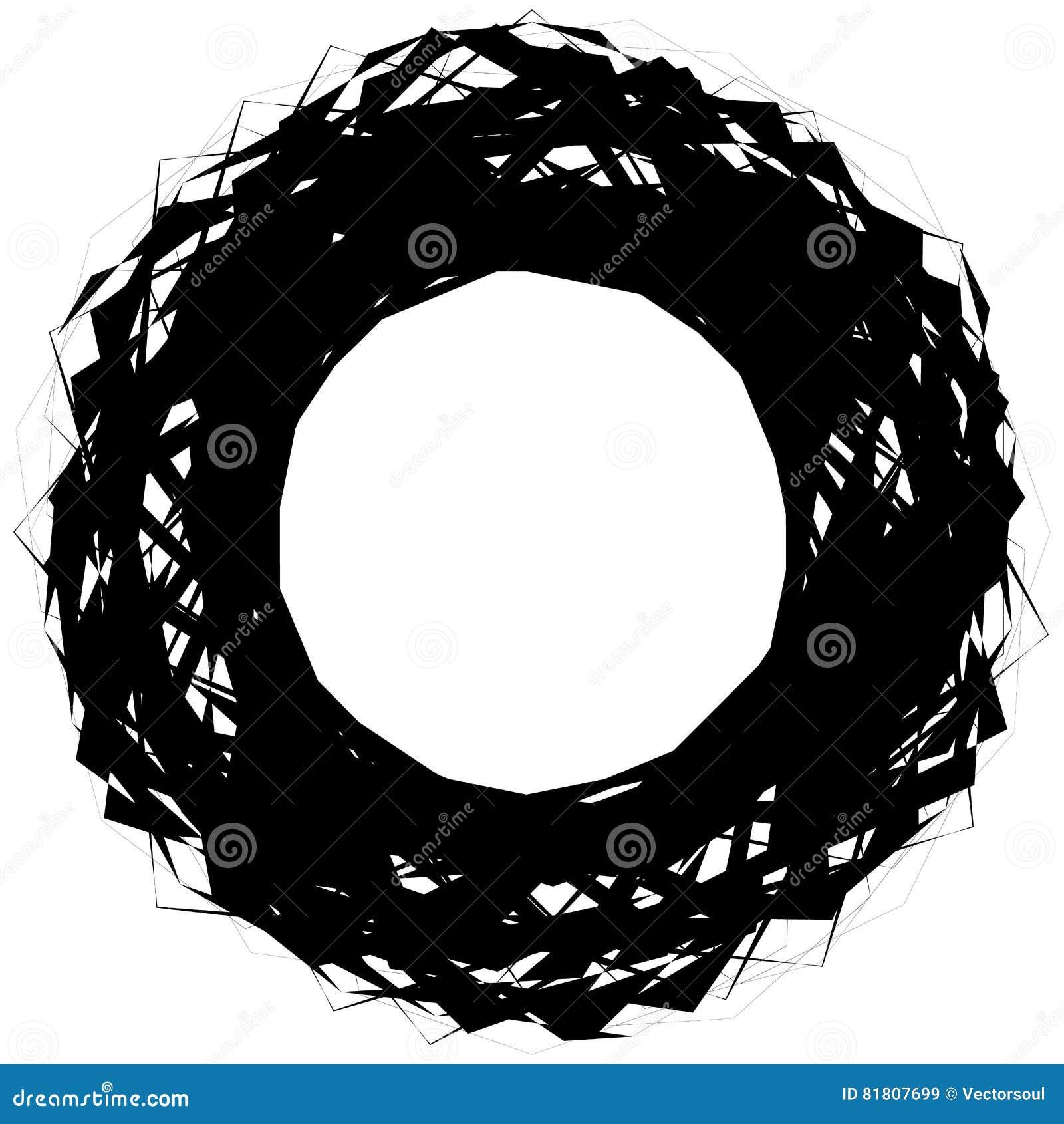 Абстрактная нервная круглая форма, элемент изолированный на белизне случайно