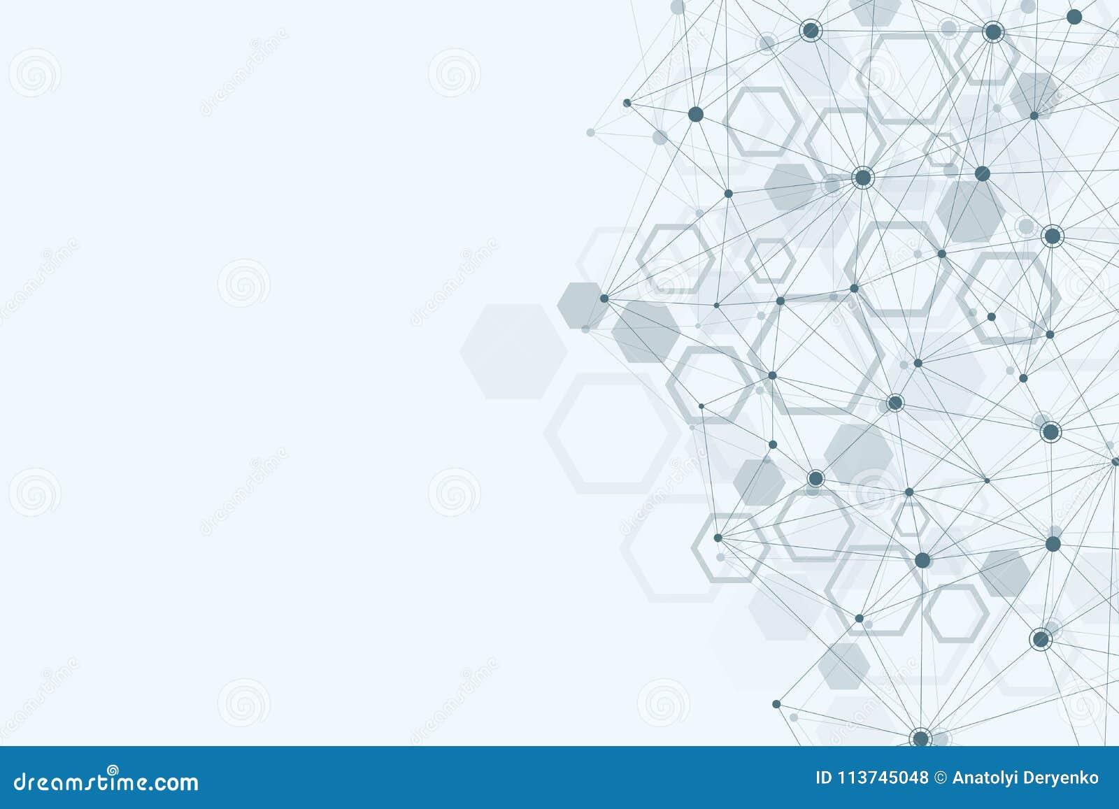 абстрактная предпосылка медицинская Концепция науки и вектора соединения Шестиугольный геометрический массив с динамический двига