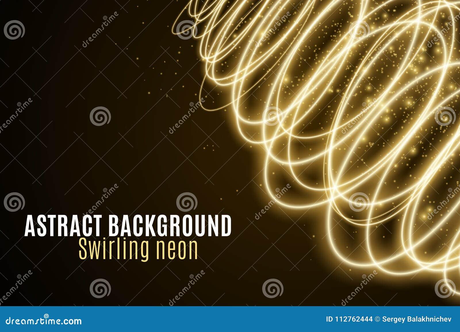 Абстрактная предпосылка светящих золотых волн неона Обои для вашего дизайна Круги волшебной пыли летания хаотические светлые Пере