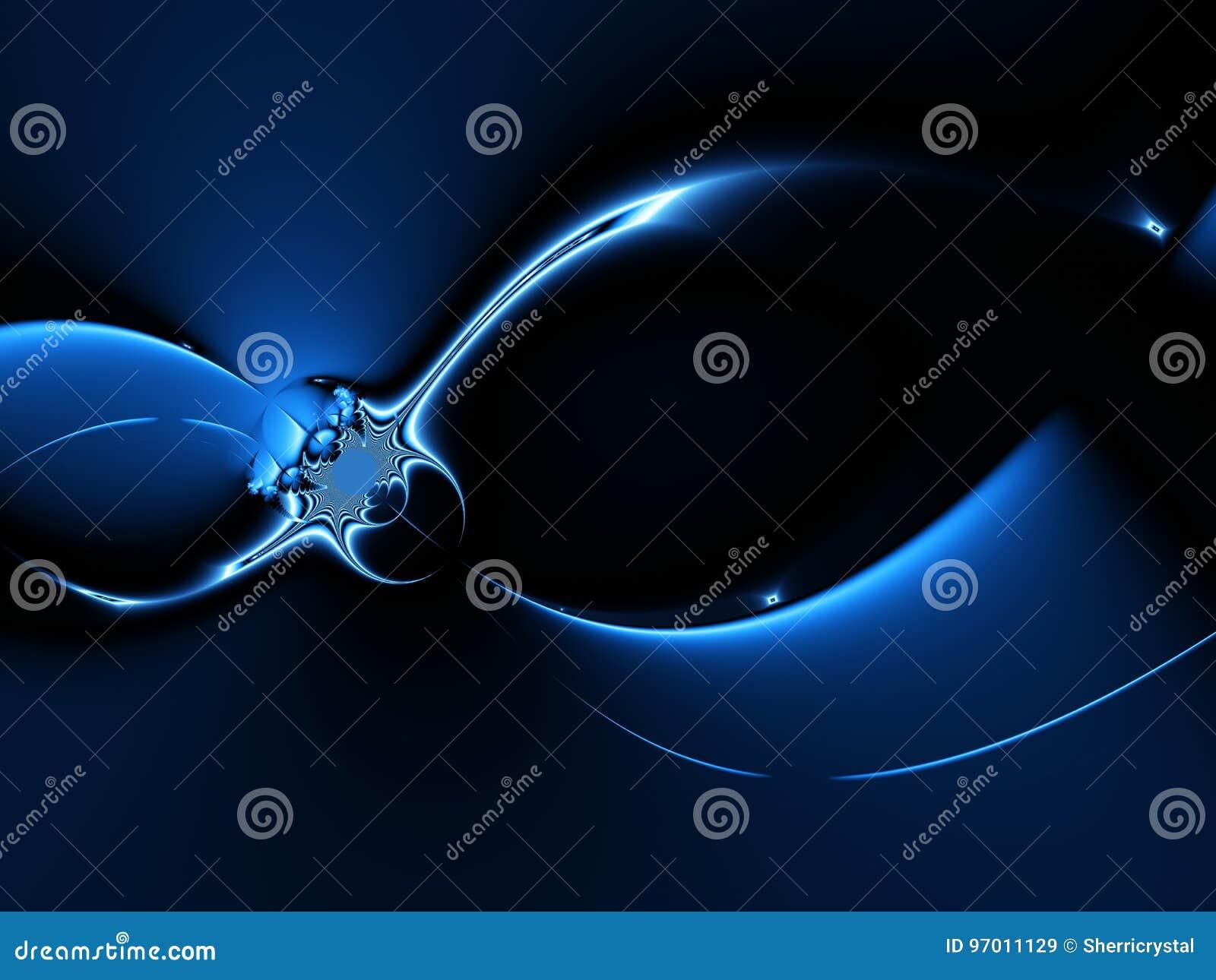 Абстрактная предпосылка фрактали в черной и голубом при кривые света, походя вселенная