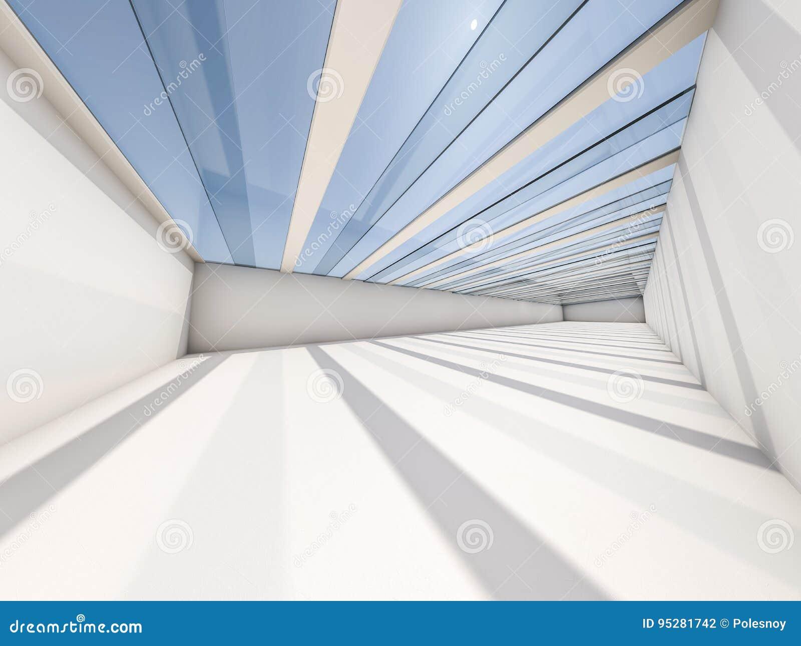 Абстрактная современная предпосылка архитектуры, пустое белое открытое пространство