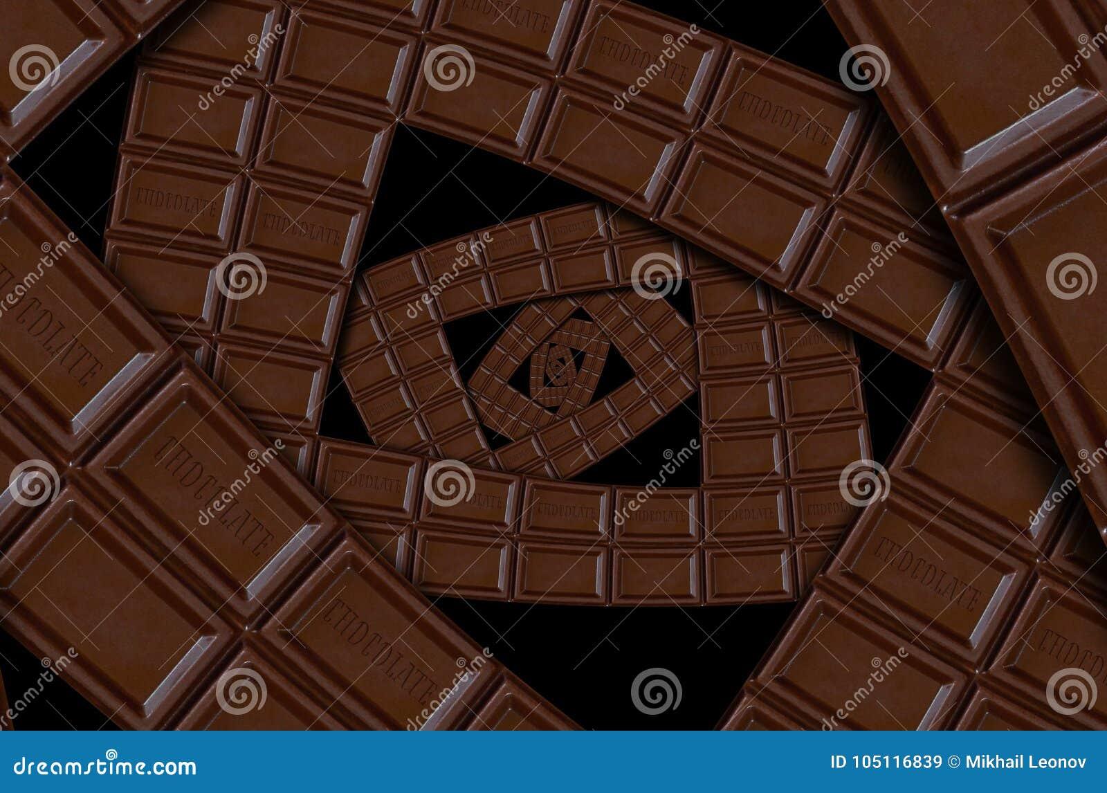 Абстрактная спираль квадрата молочного шоколада сделанная шоколадного батончика Конспект twirl Картина предпосылки шоколада Темна