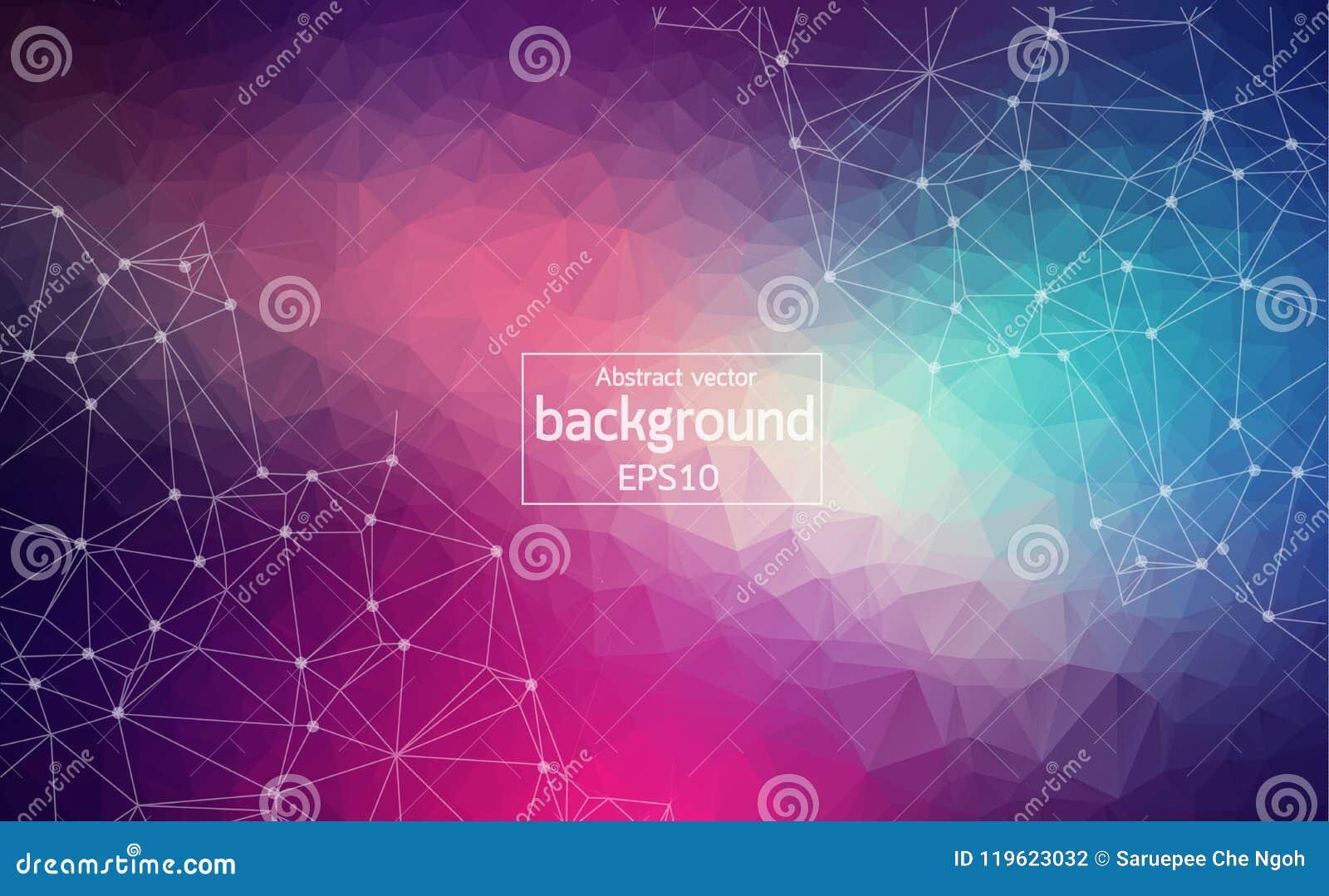 Абстрактная темная фиолетовая светлая геометрическая полигональная молекула и связь предпосылки Соединенные линии с точками Конце