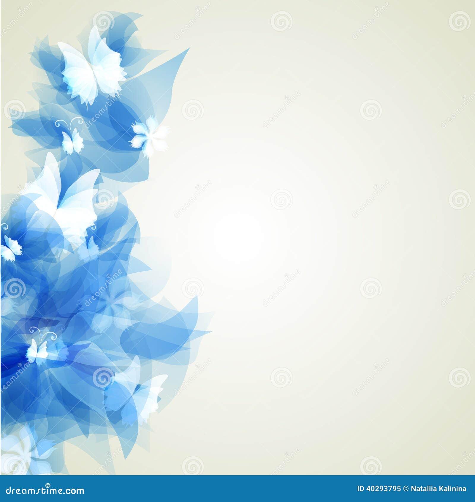 Абстрактная художническая предпосылка с голубым флористическим элементом