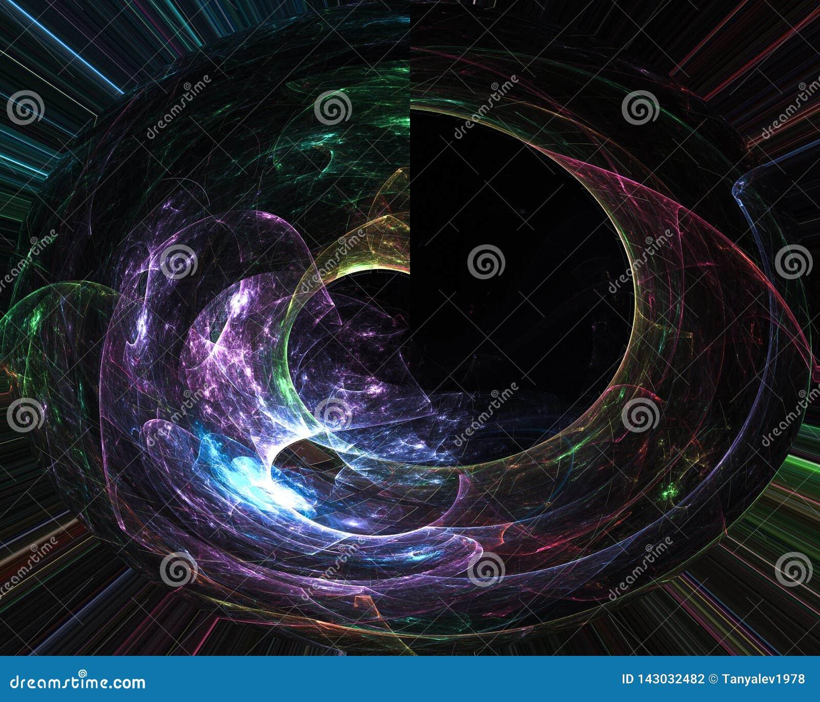 Абстрактная цифровая элегантность орнамента карты влияния фрактали, динамика