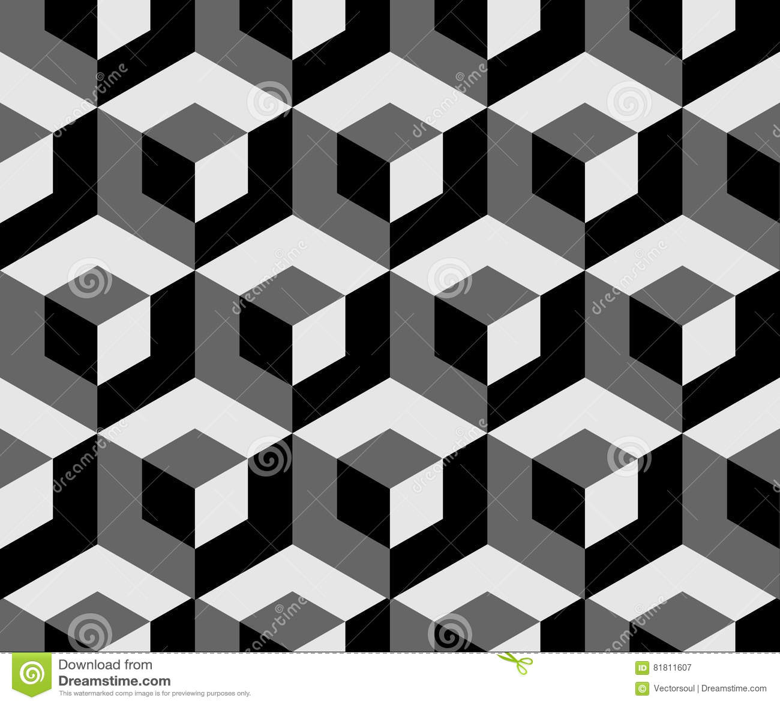 Абстрактная monochrome картина с перекрывая квадратами Безшовные 3