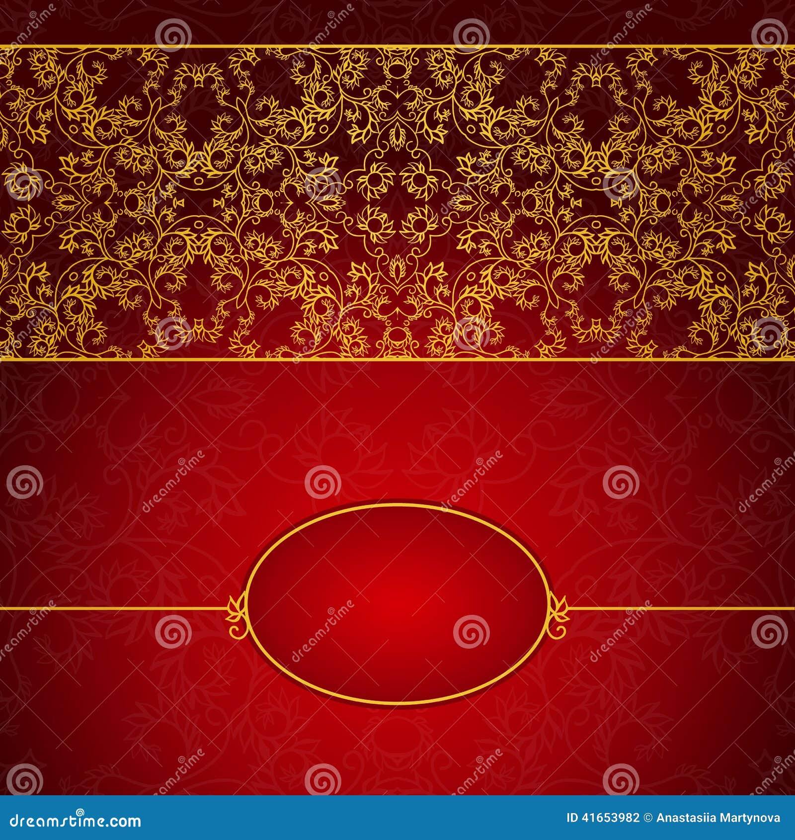 Абстрактное золото и красная рамка приглашения