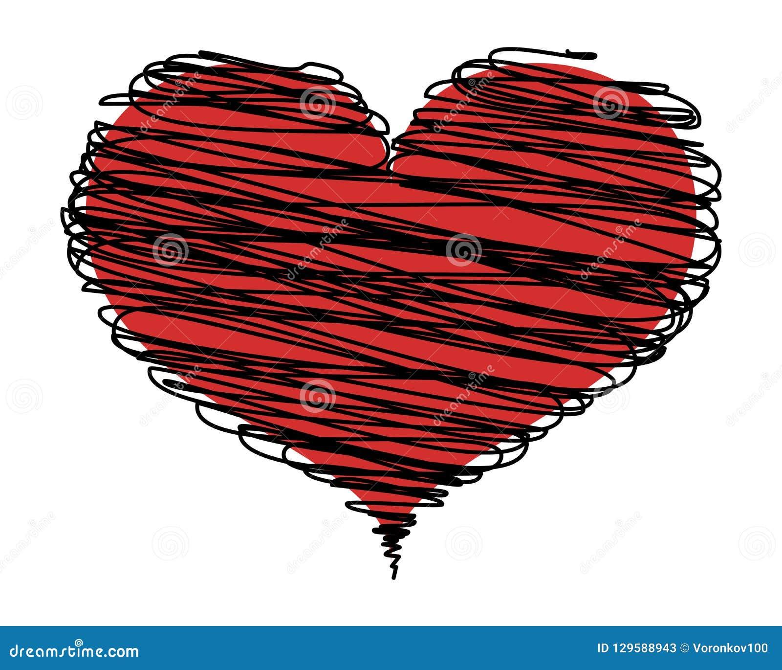 Абстрактное красное сердце с черными линиями, значок Элемент дизайна вектора изолированный на светлой предпосылке