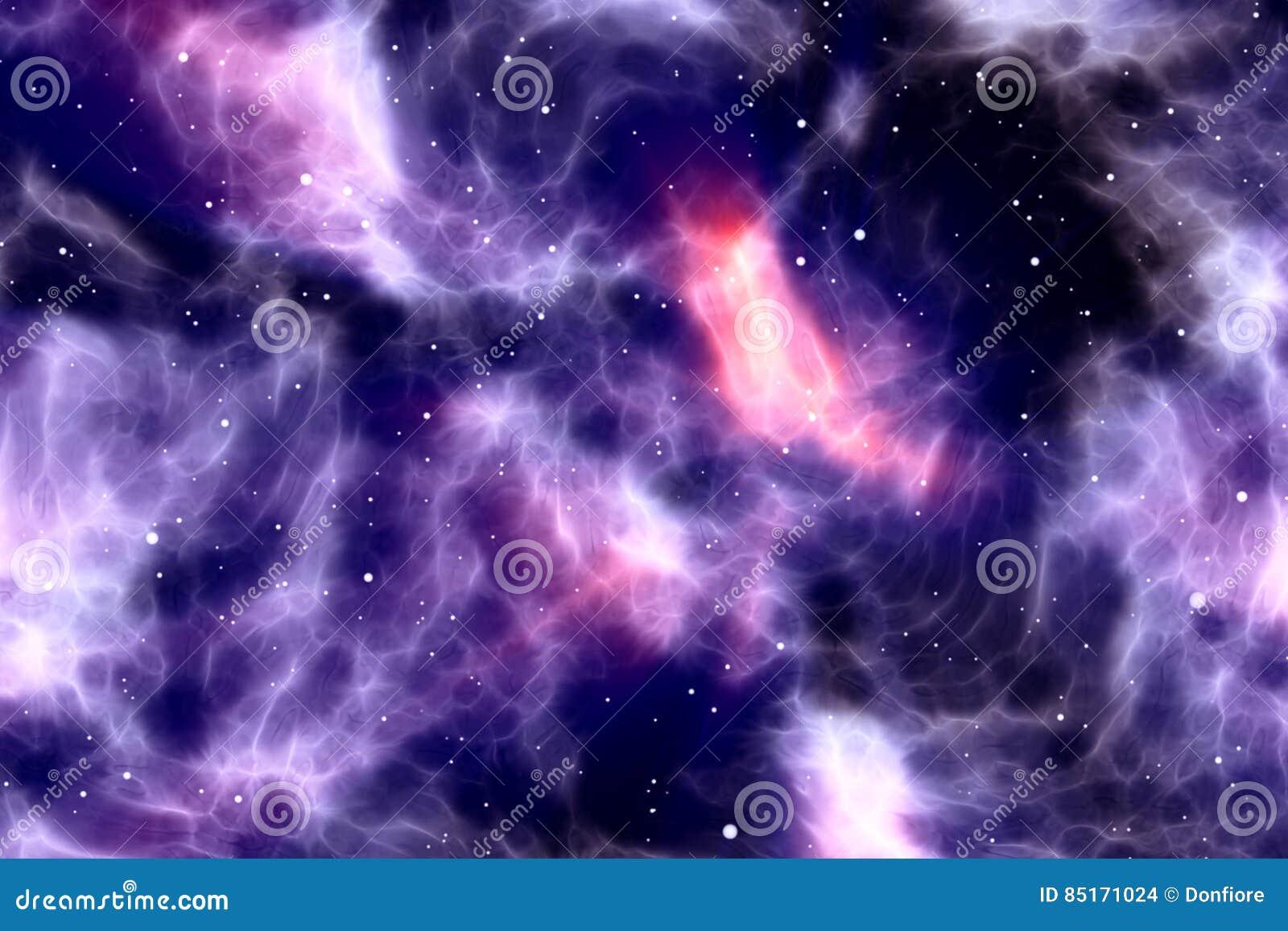Абстрактное ночное небо с звездами и межзвёздным облаком искры яркого блеска, красочной голубой и фиолетовой вселенной космоса га