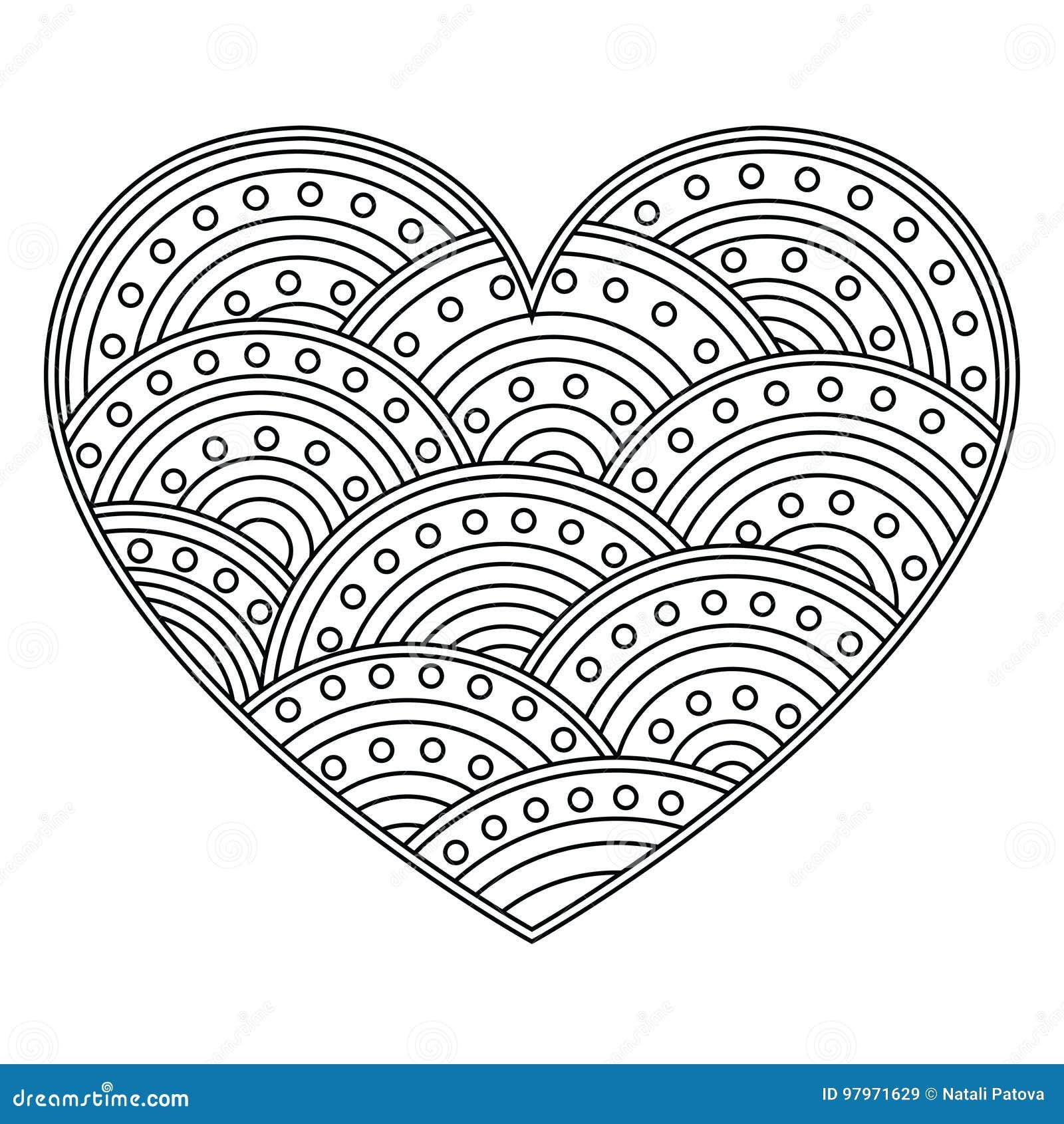 абстрактное сердце влюбленности с орнаментом кругов страница