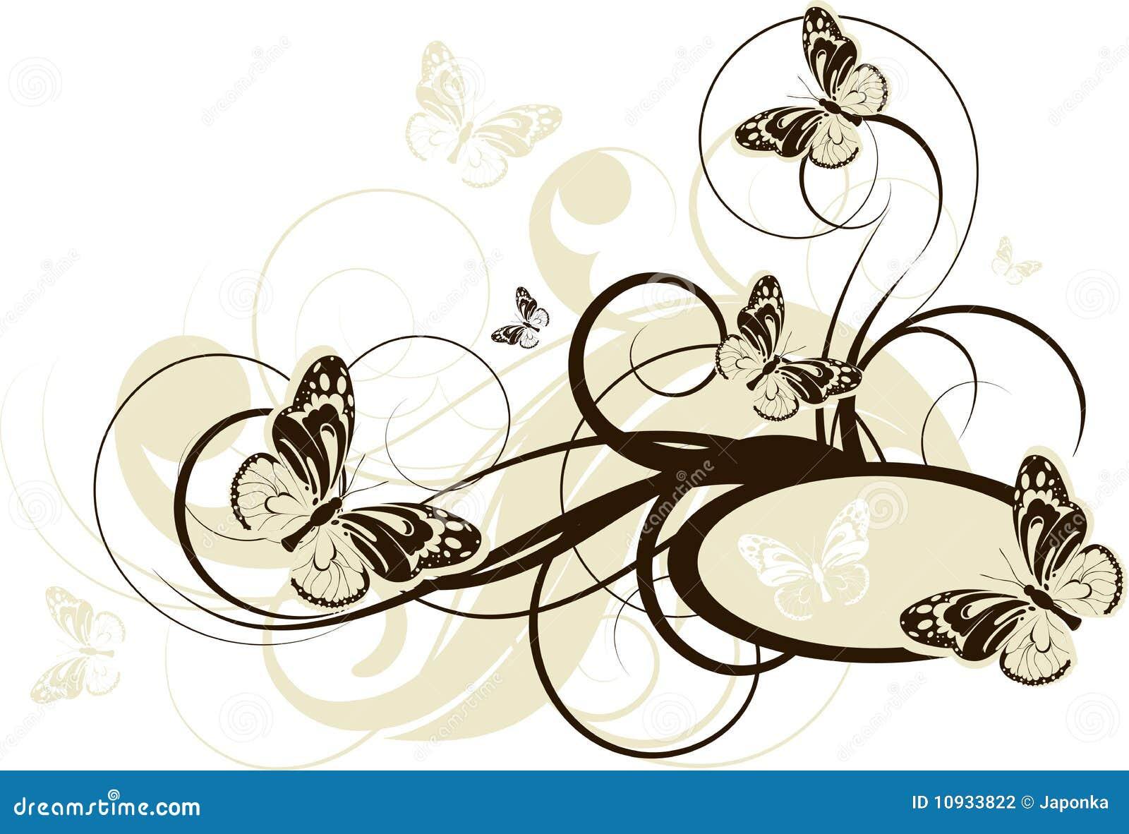 абстрактные бабочки знамени флористические