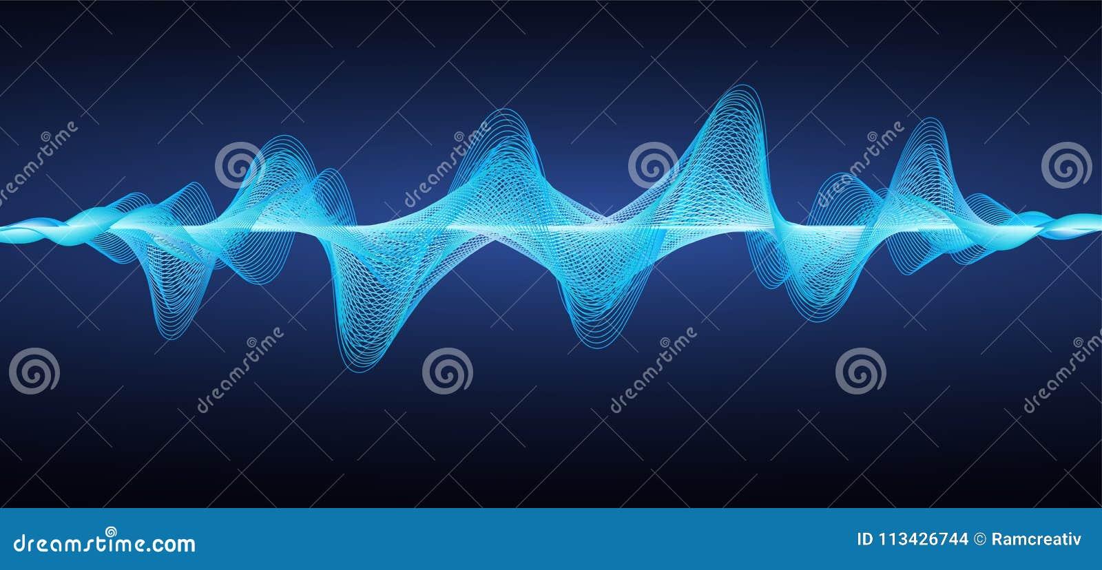 Абстрактные голубые звуковые войны Линии влияния волнистые