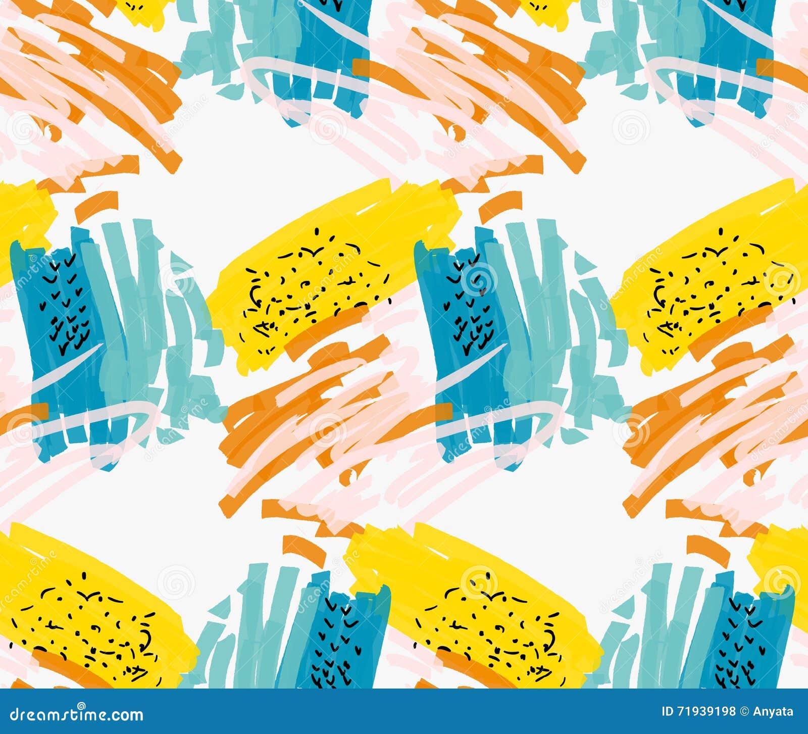 Абстрактные голубое и желтый с розовыми и черными метками