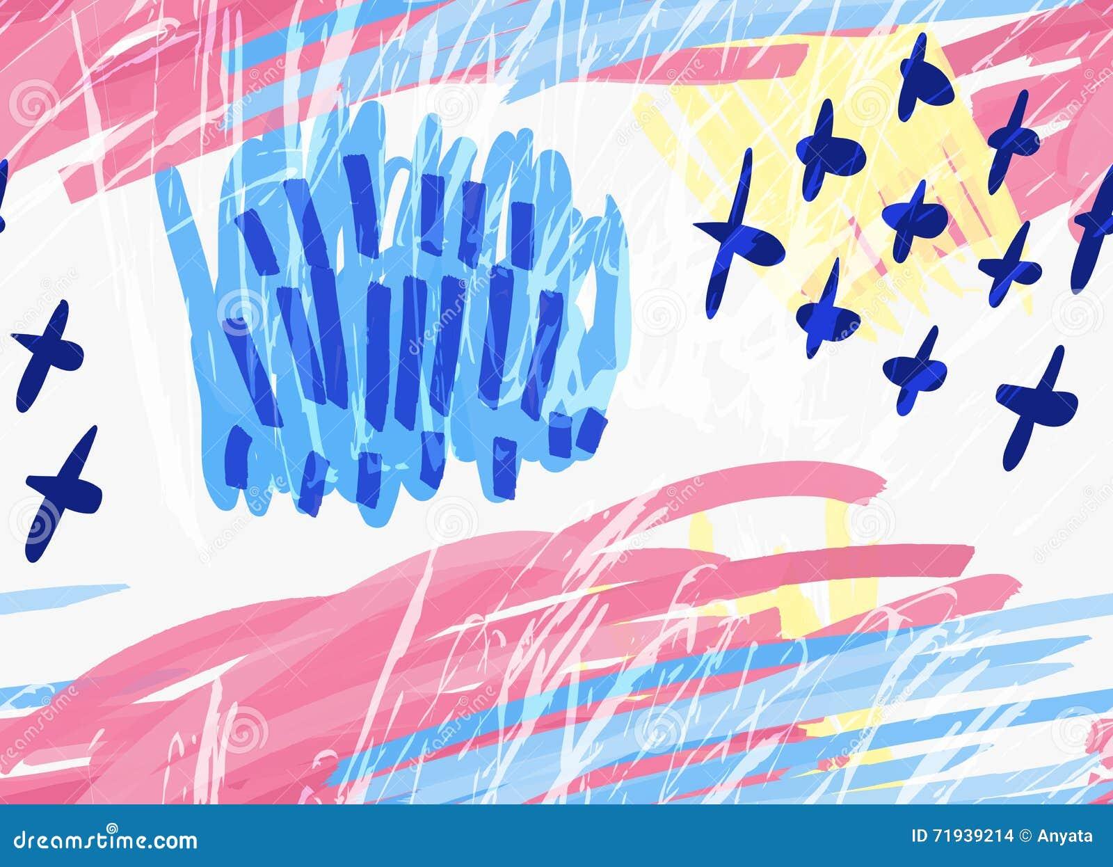 Абстрактные голубое и розовый с крестами