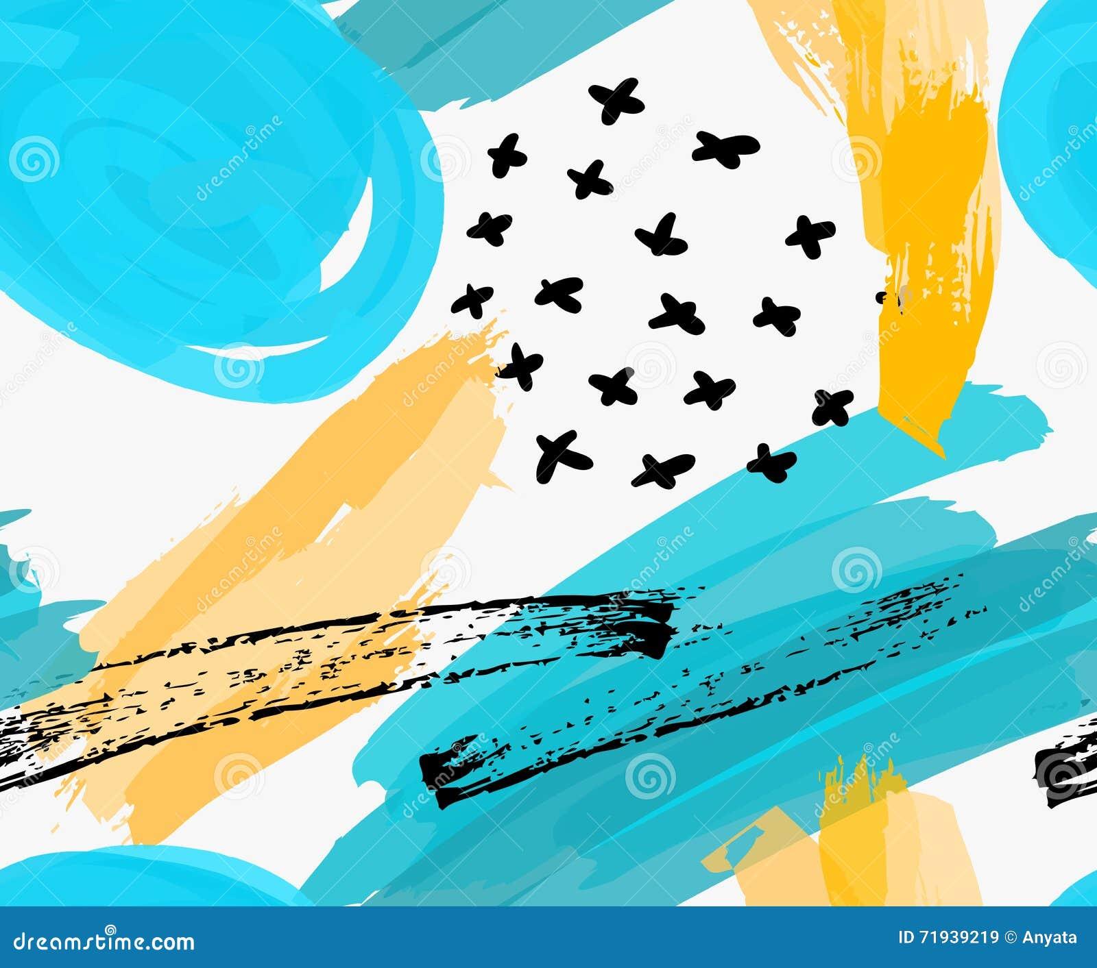 Абстрактные голубые круги отметки и желтые ходы щетки