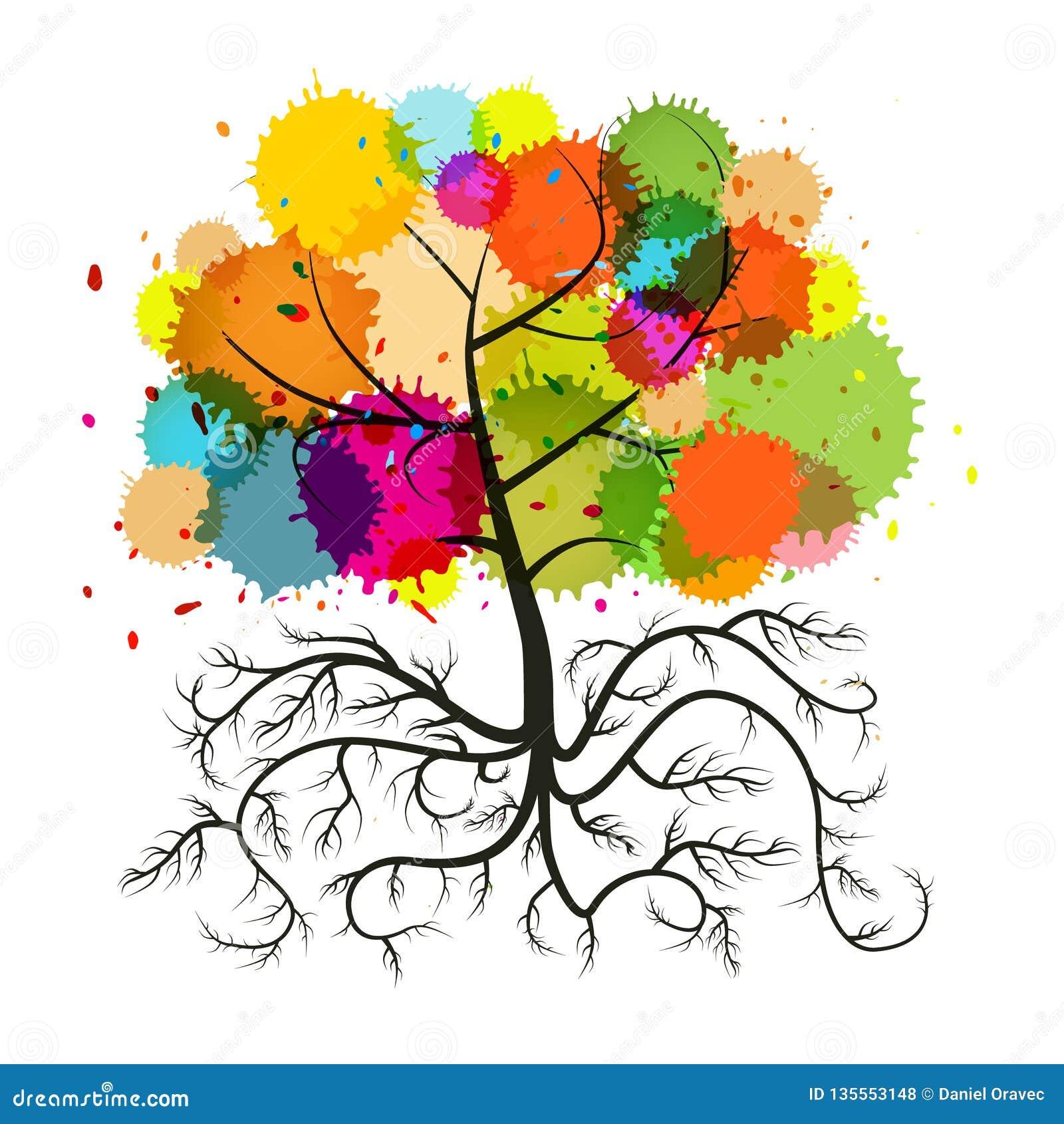дерево вектора с корнями Стоковых иллюстраций и клипартов ...