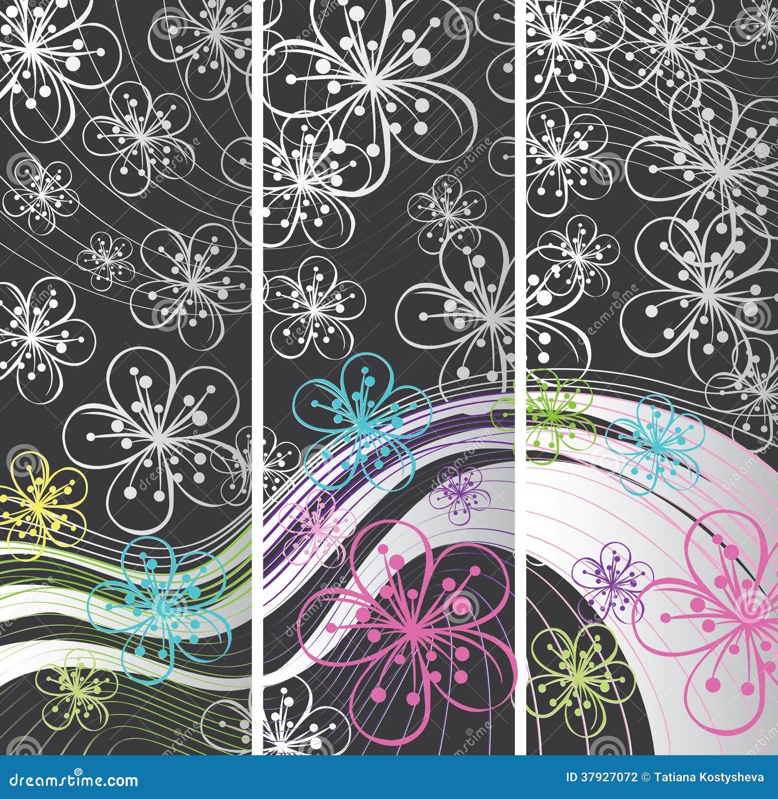 Абстрактные знамена весны. Цветки на линии backg