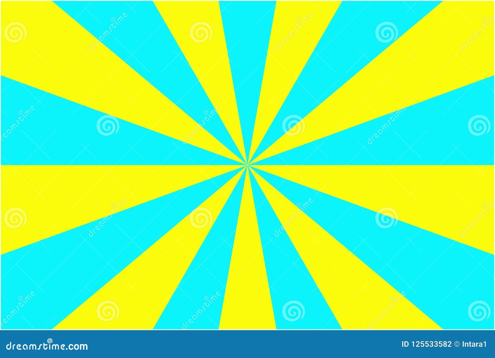 Абстрактные картина, желтый цвет и свет sunburst - синь излучает предпосылку Иллюстрация вектора, EPS10 геометрическая картина