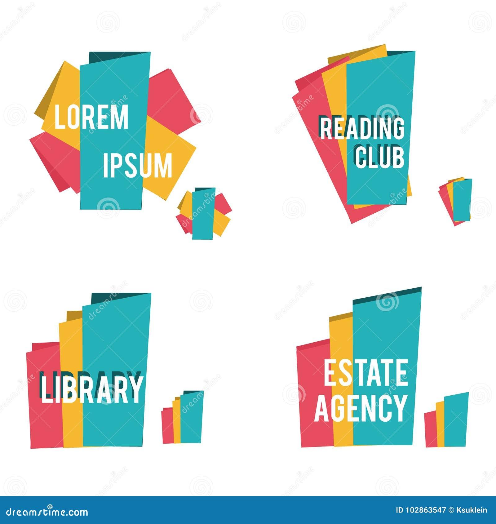Абстрактные формы для библиотеки, клубов чтения, недвижимости и значков другой отрасли
