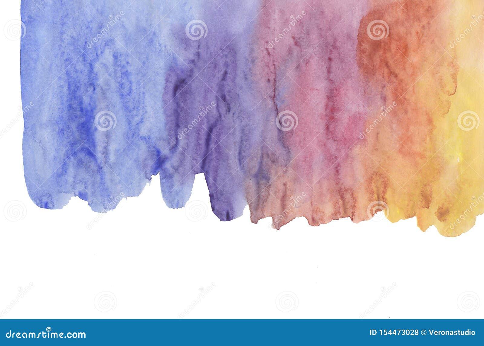 Абстрактные ходы щетки акварели изолированные на белой, творческой иллюстрации, художественной цветовой палитре, мазке grunge, го
