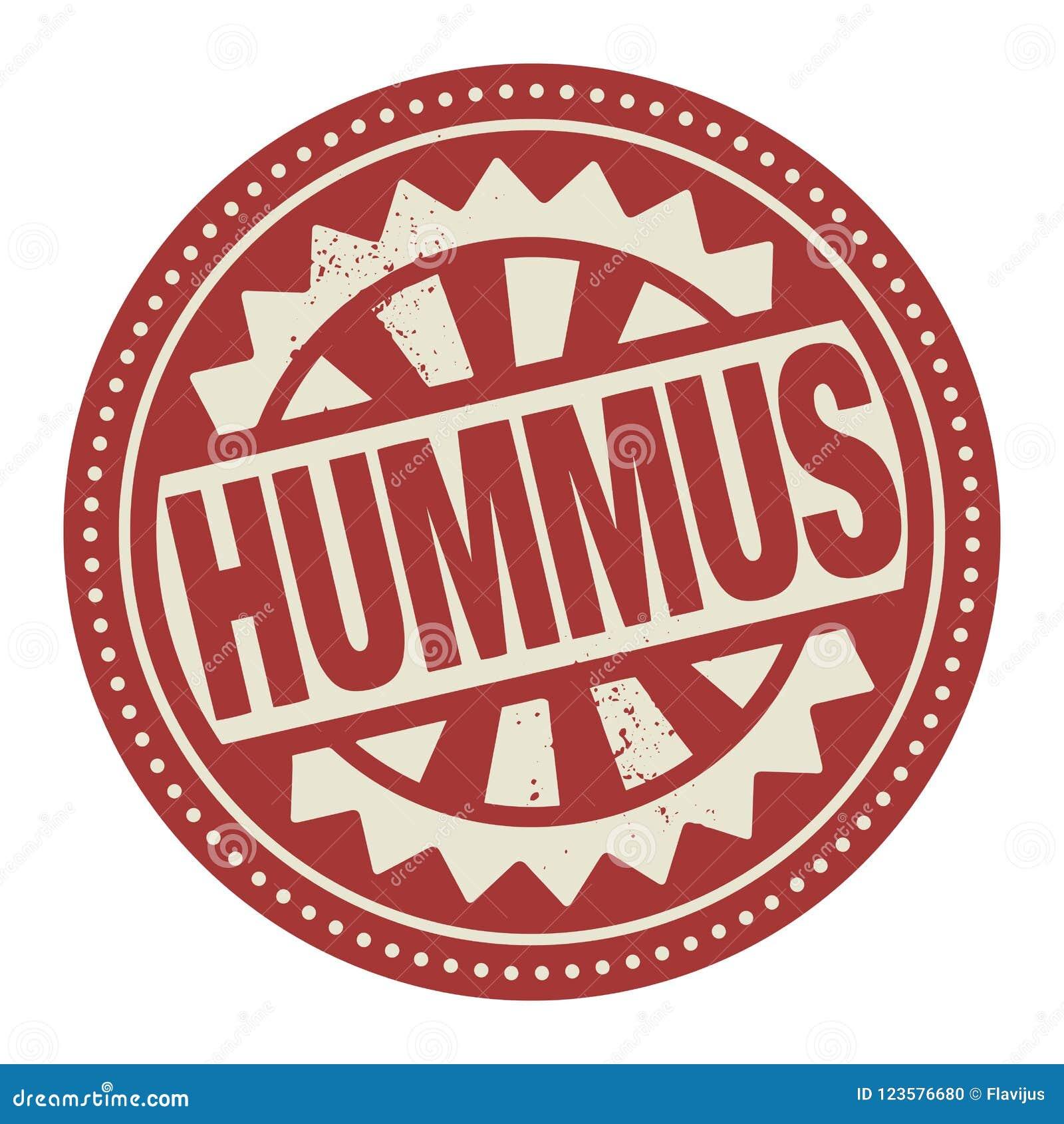 Абстрактные штемпель или ярлык с текстом Hummus написанным внутрь