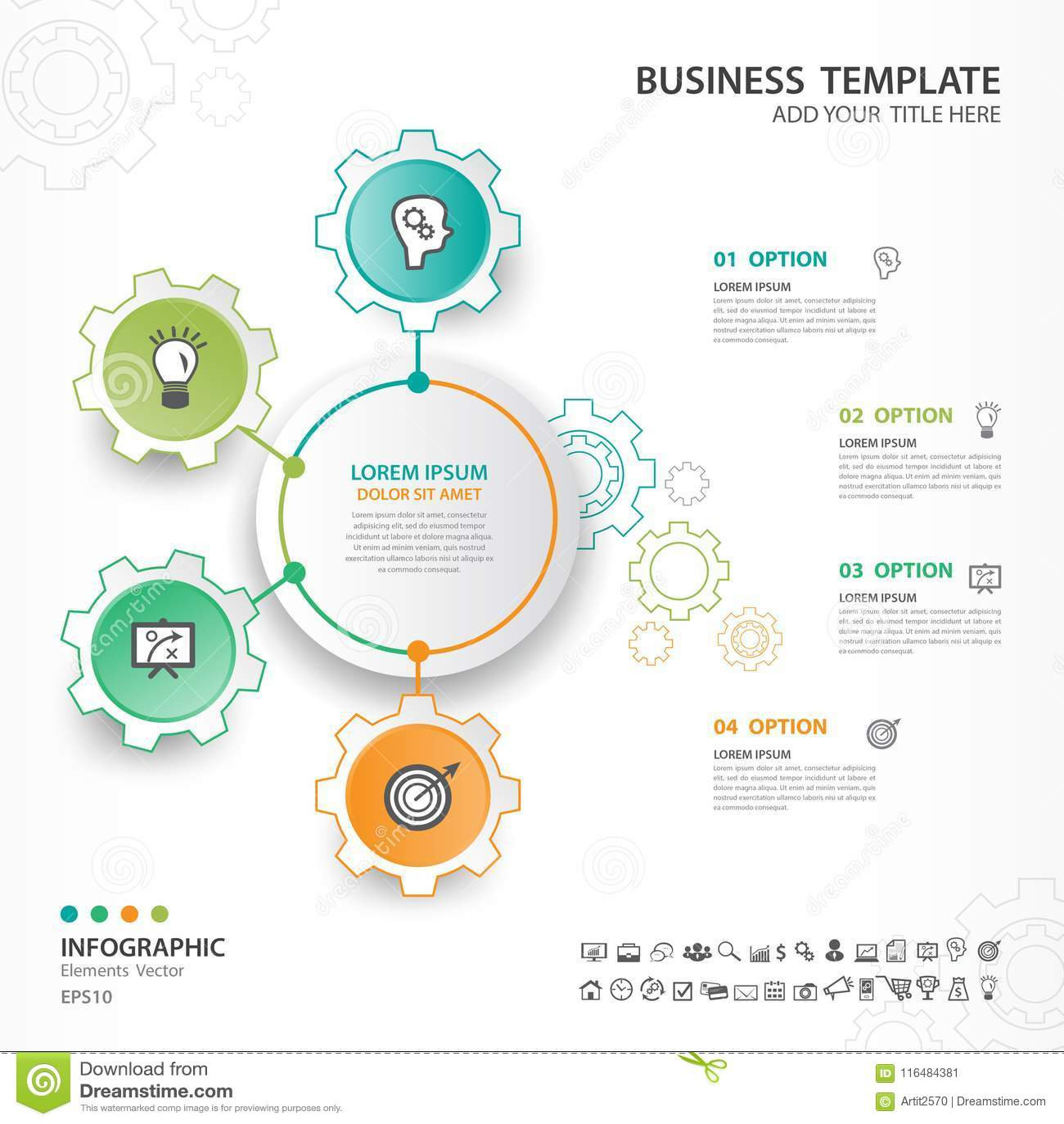 Абстрактные элементы шестерни diagram с 4 шагами, вариантами, веб-дизайном, представлением, диаграммой, диаграммой, вектором info
