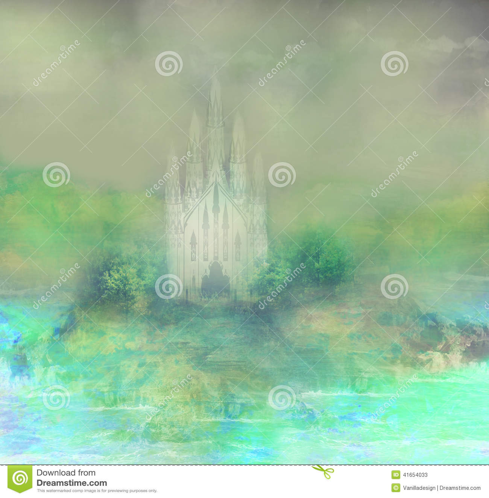 Абстрактный ландшафт с старым замком